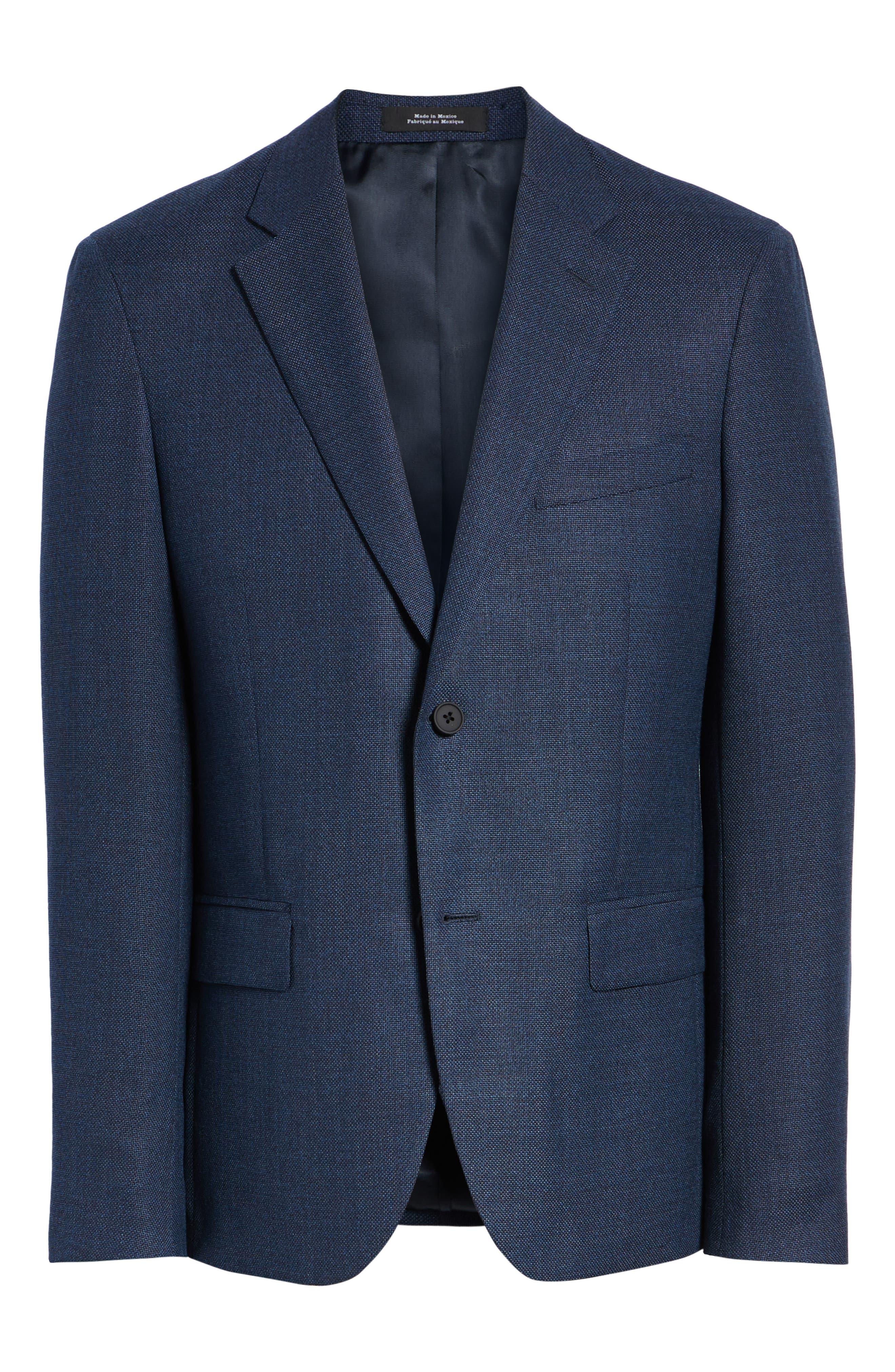 Trim Fit Crosshatched Wool Sport Coat,                             Alternate thumbnail 5, color,                             415