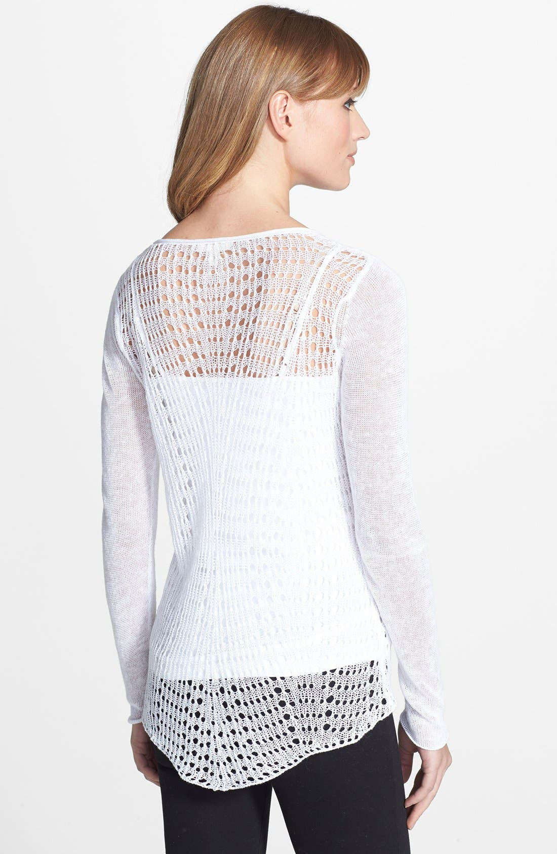 Open Stitch Scoop Neck Sweater,                             Alternate thumbnail 2, color,                             100