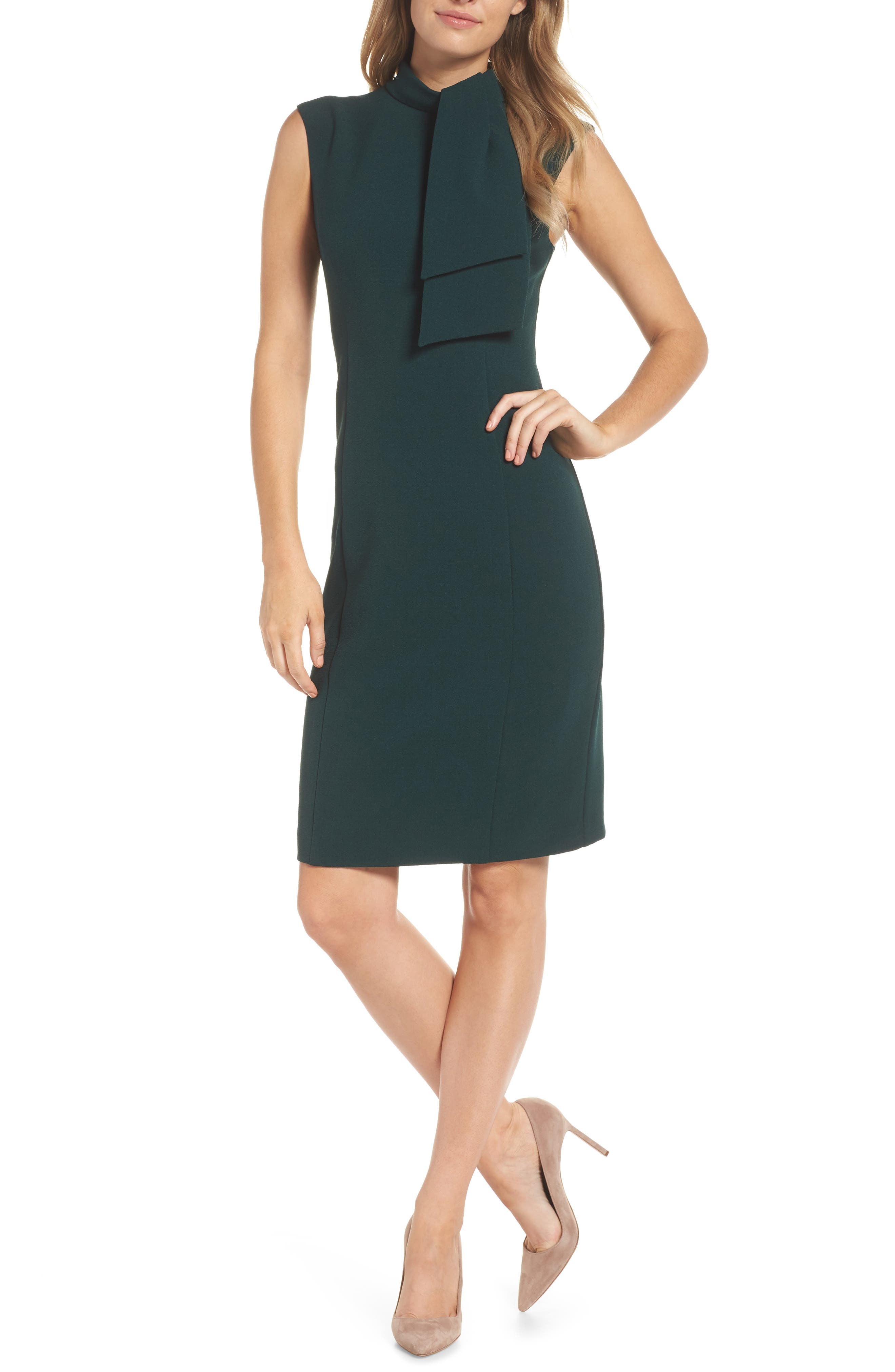 HARPER ROSE,                             Tie Neck Sheath Dress,                             Alternate thumbnail 6, color,                             302