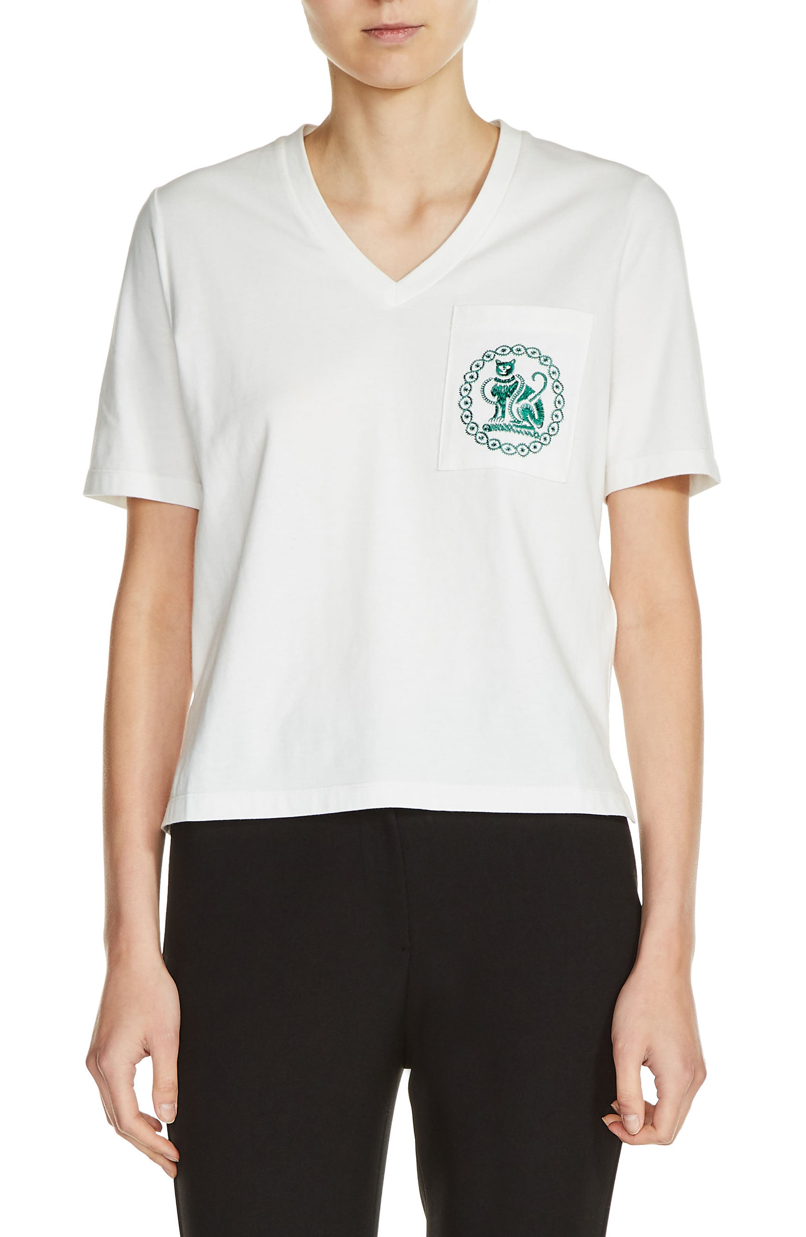 Embroidered Cotton V-Neck Tee,                             Main thumbnail 1, color,