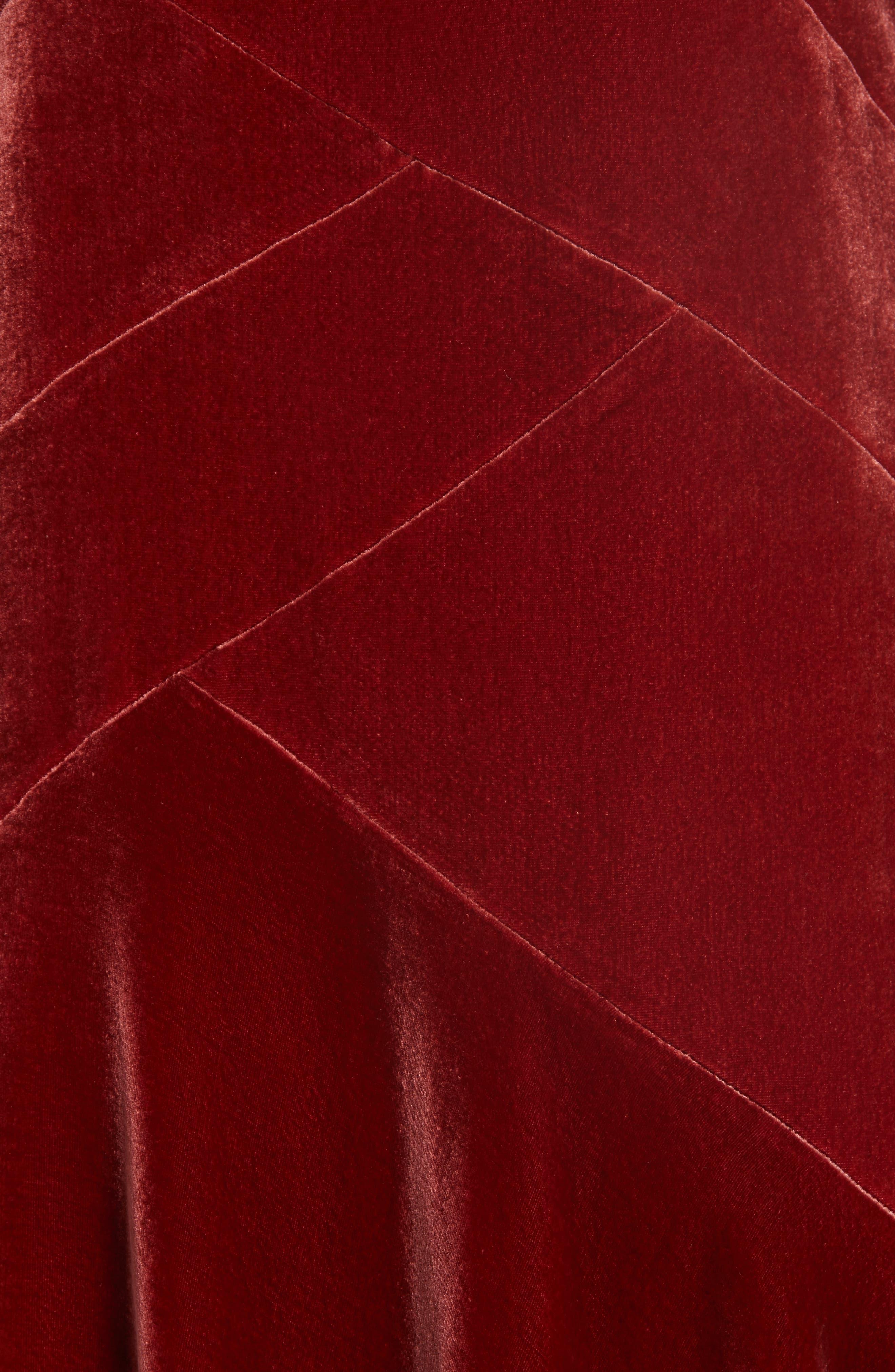 Ashlena Asymmetrical Velvet Dress,                             Alternate thumbnail 6, color,                             SAFFRON