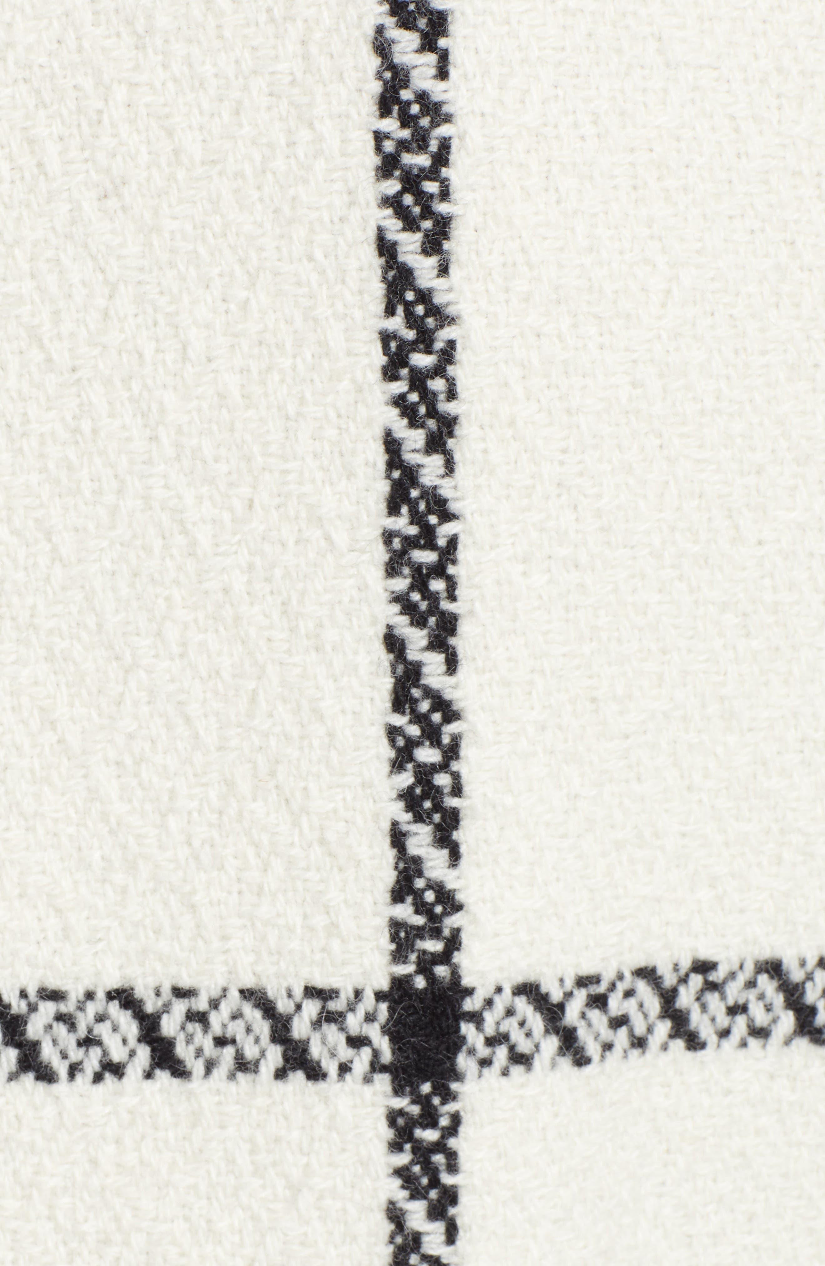 TED BAKER LONDON,                             Soniq Check Wool Blend Long Coat,                             Alternate thumbnail 7, color,                             92-IVORY