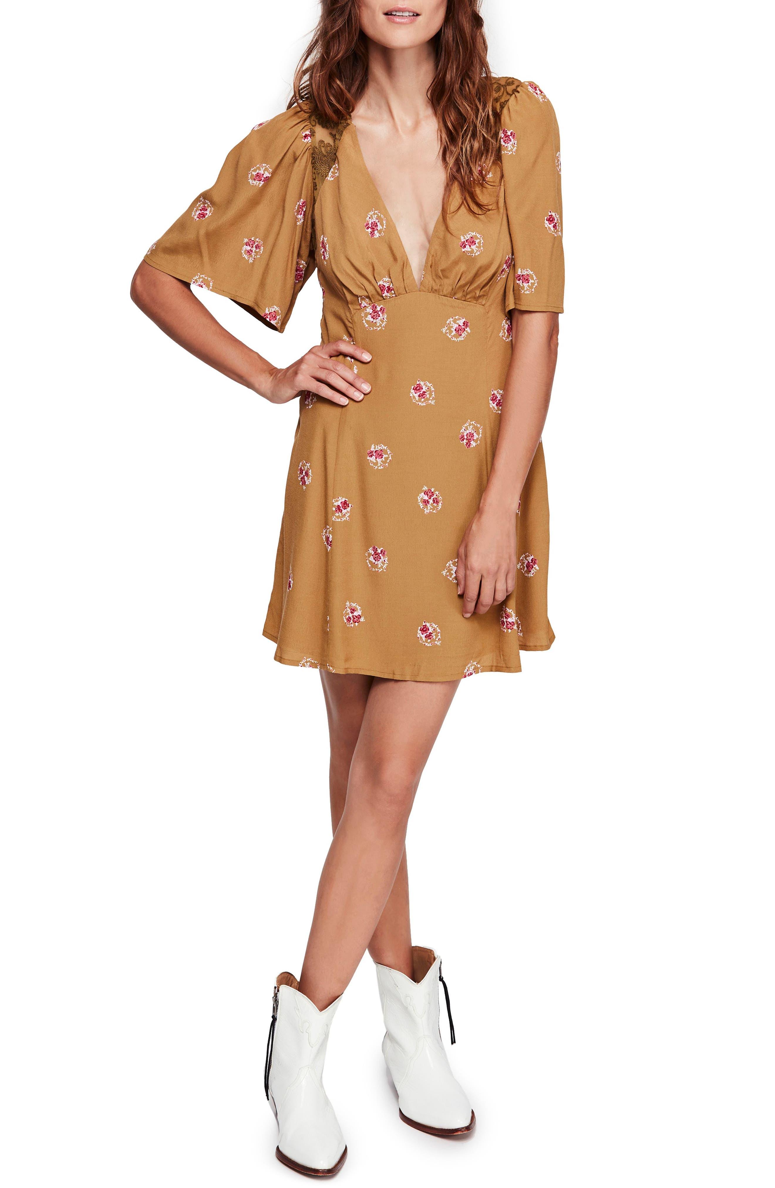 Free People Mockingbird Embroidered Mesh Inset Minidress, Brown