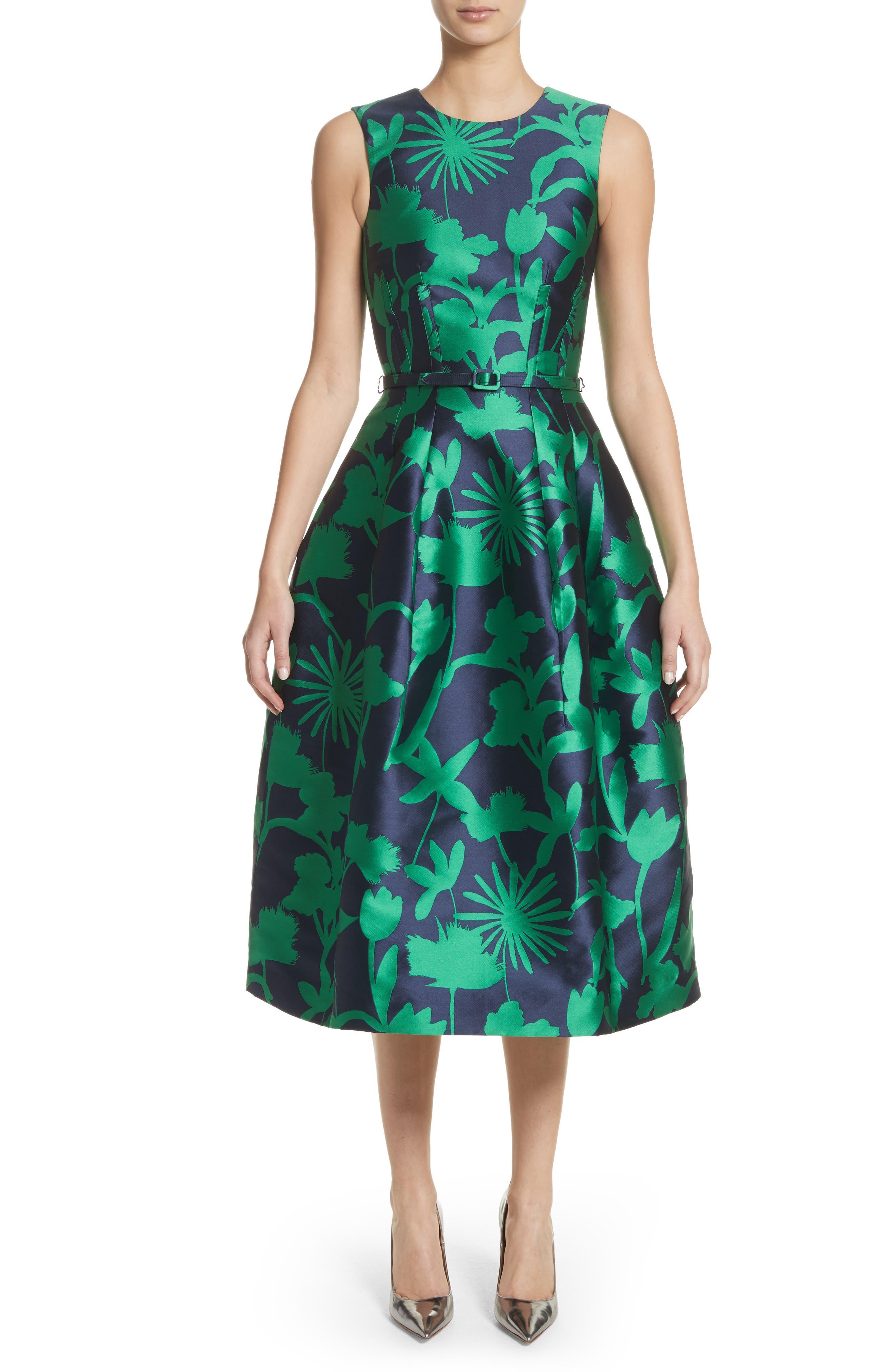 Leaf Print Belted Mikado Dress,                         Main,                         color, 404
