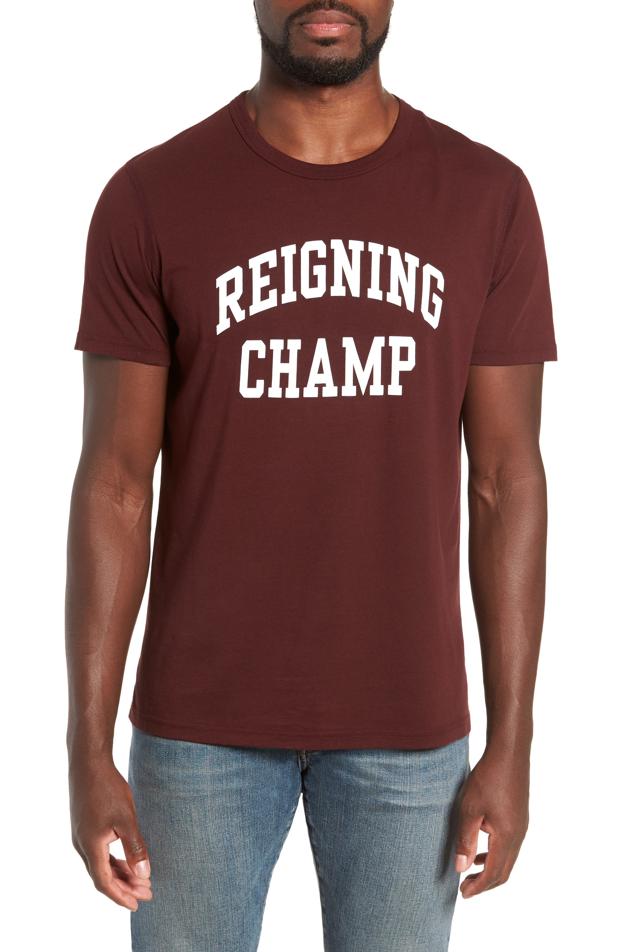 REIGNING CHAMP Ivy League Logo T-Shirt in Crimson/ White