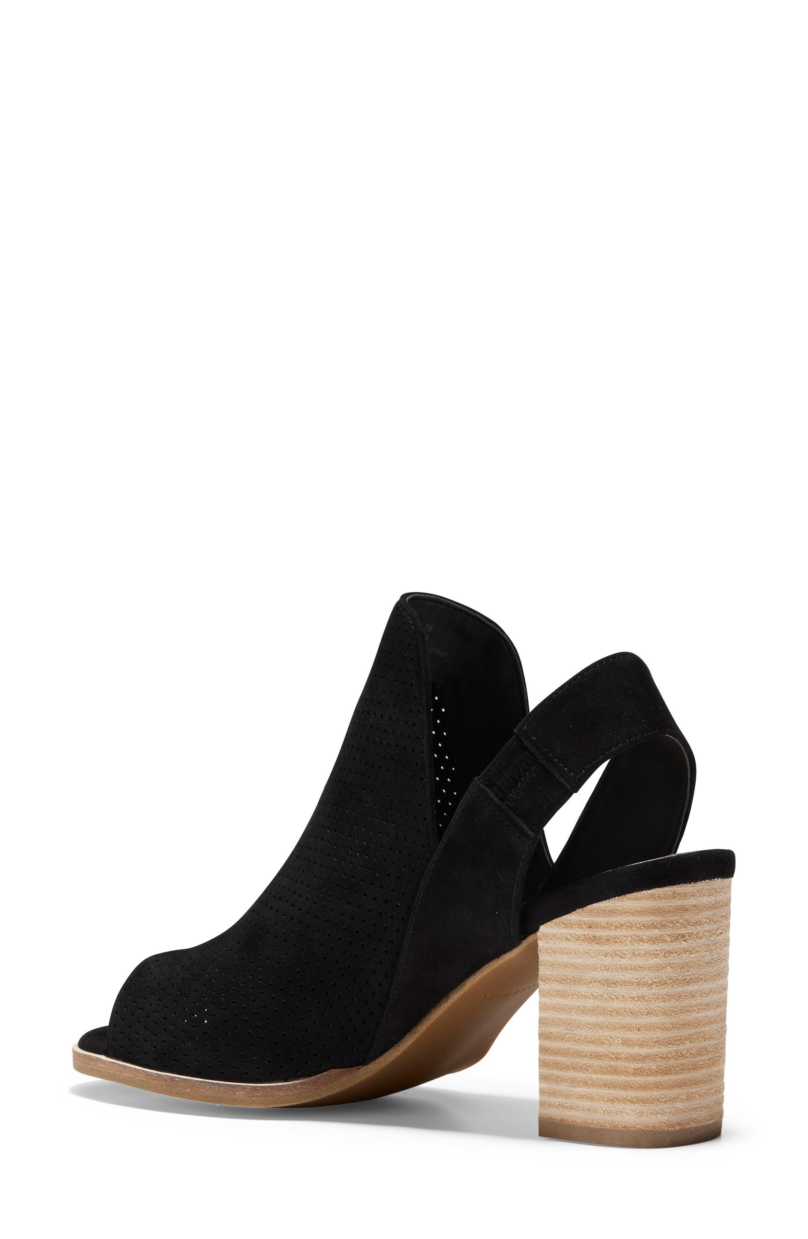 Callista Perforated Slingback Sandal,                             Alternate thumbnail 2, color,                             BLACK PERF SUEDE