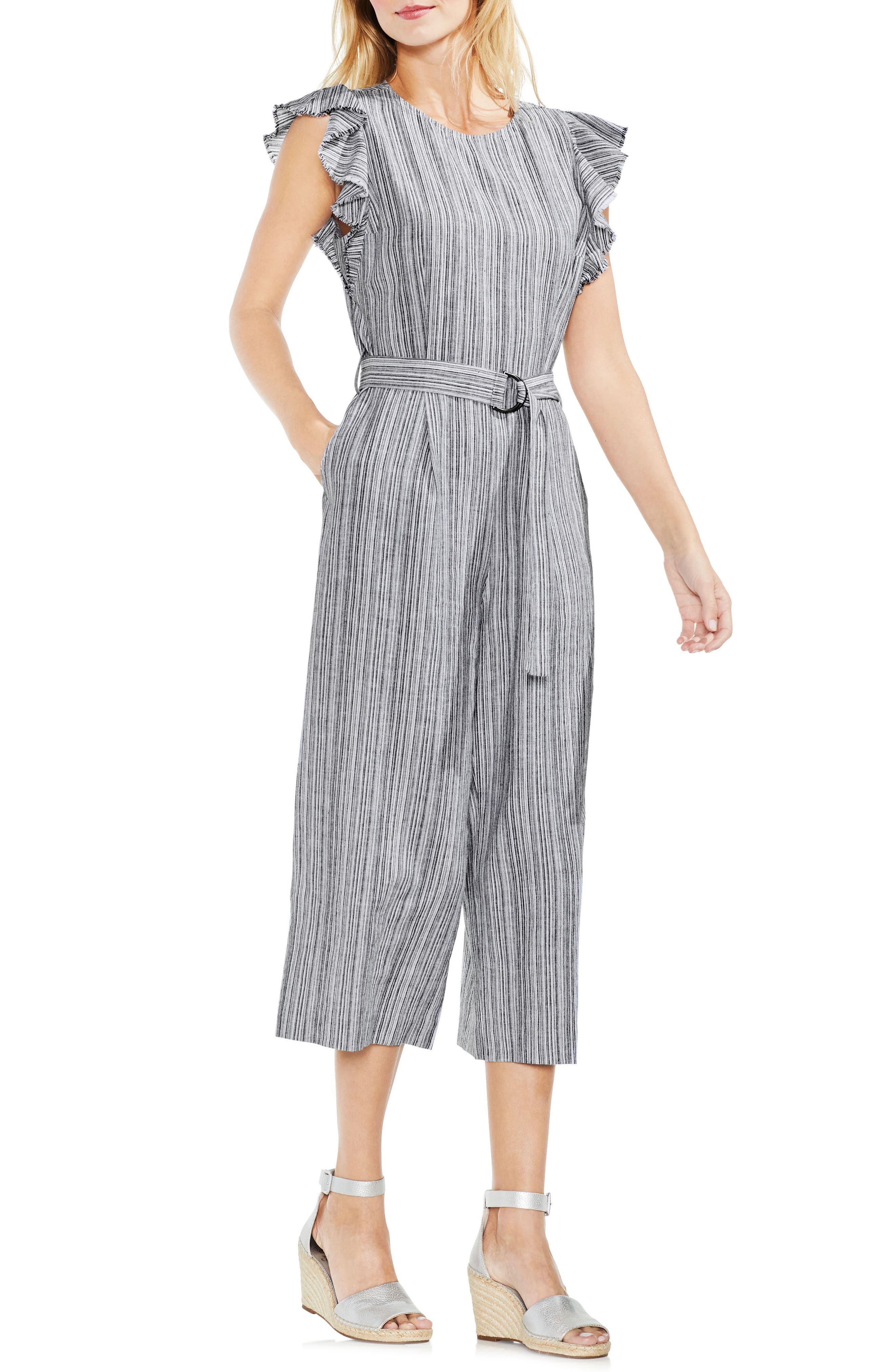 Stripe Ruffle Sleeve Jumpsuit,                         Main,                         color, 006