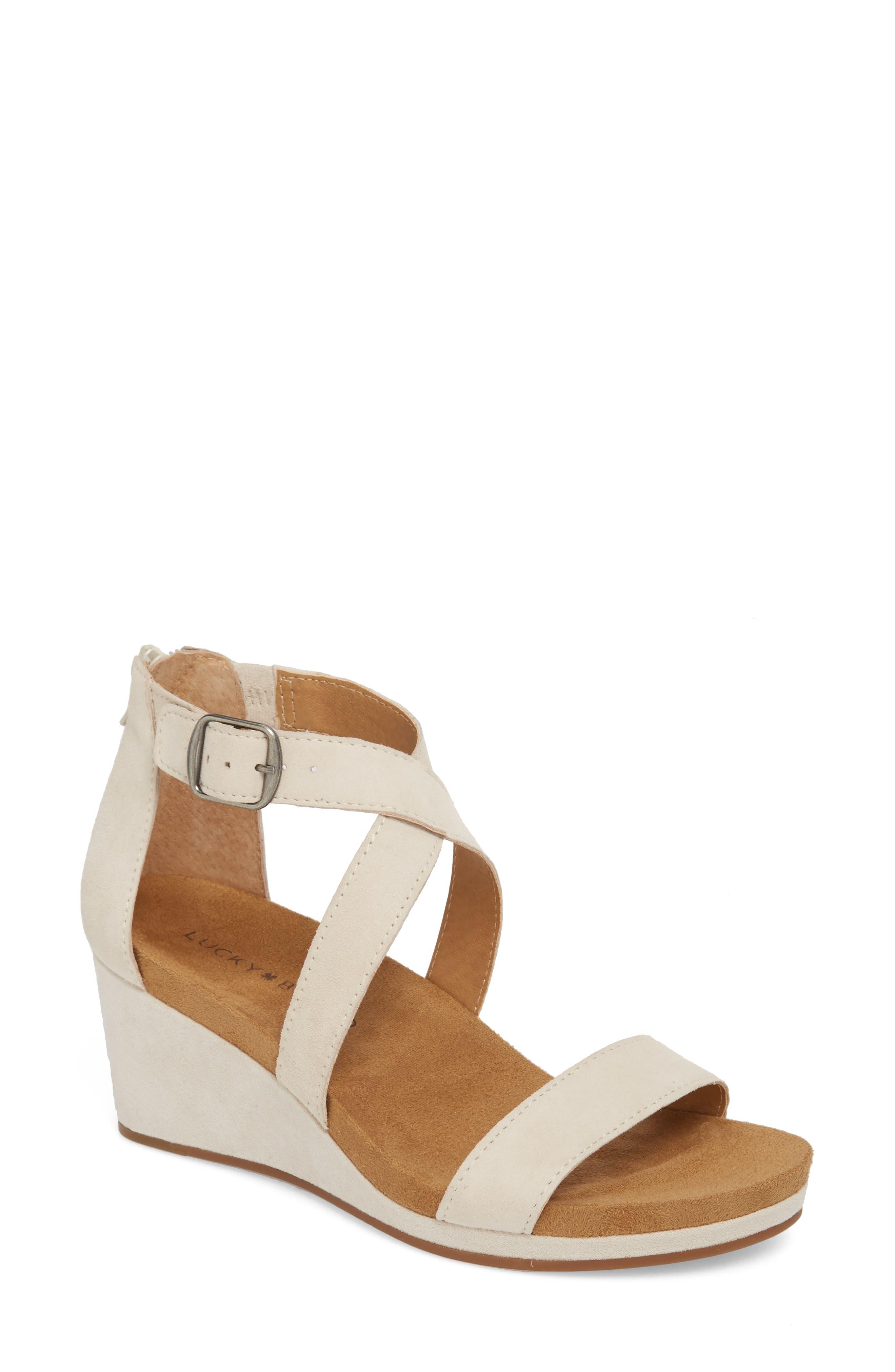 Kenadee Wedge Sandal,                         Main,                         color, SANDSHELL SUEDE