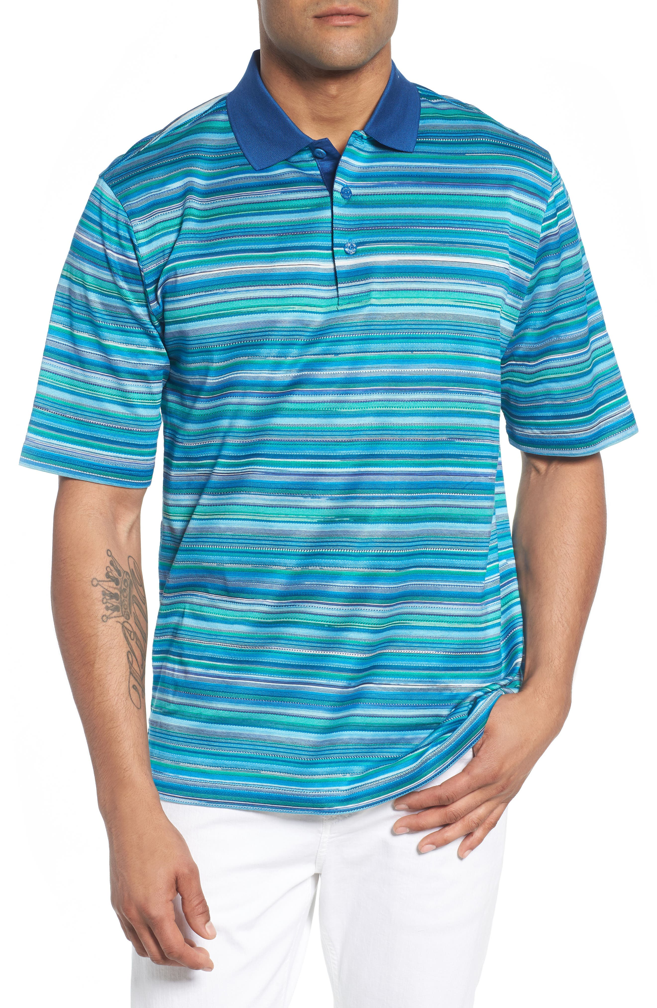 Stripe Mercerized Cotton Polo,                         Main,                         color, 329