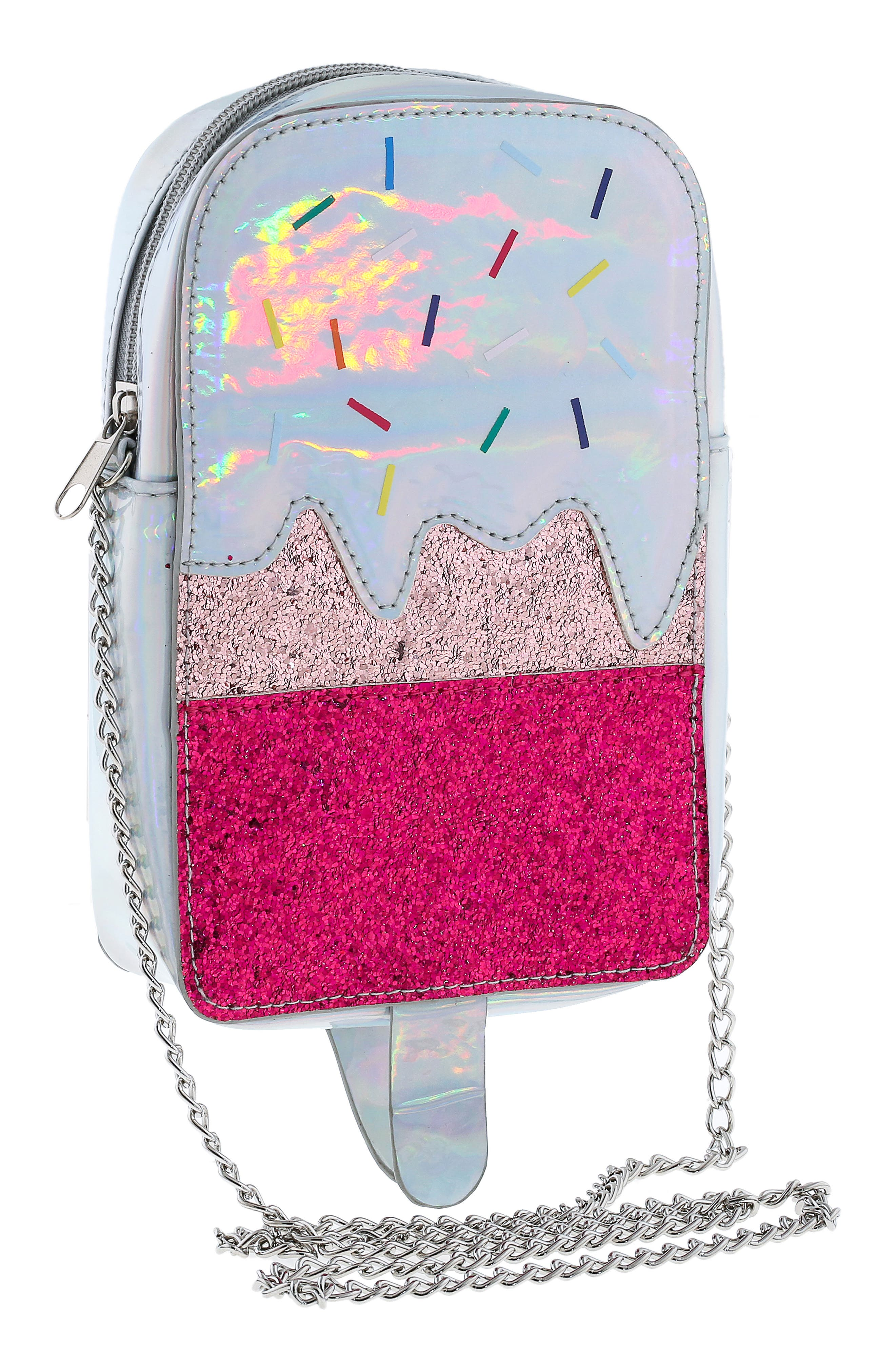 Girls Capelli New York Holographic Ice Pop Crossbody Bag  Metallic