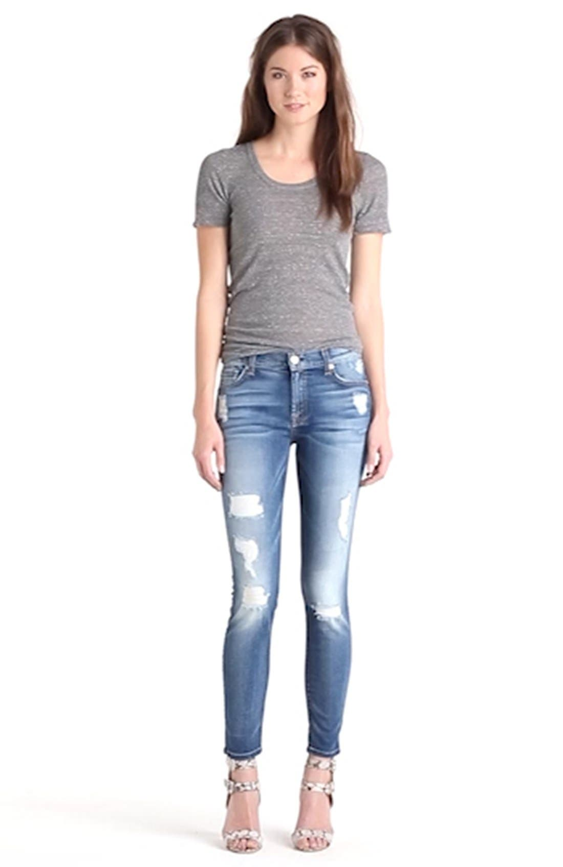 b(air) Ankle Skinny Jeans,                             Alternate thumbnail 8, color,                             DISTRESSED AUTHENTIC LIGHT