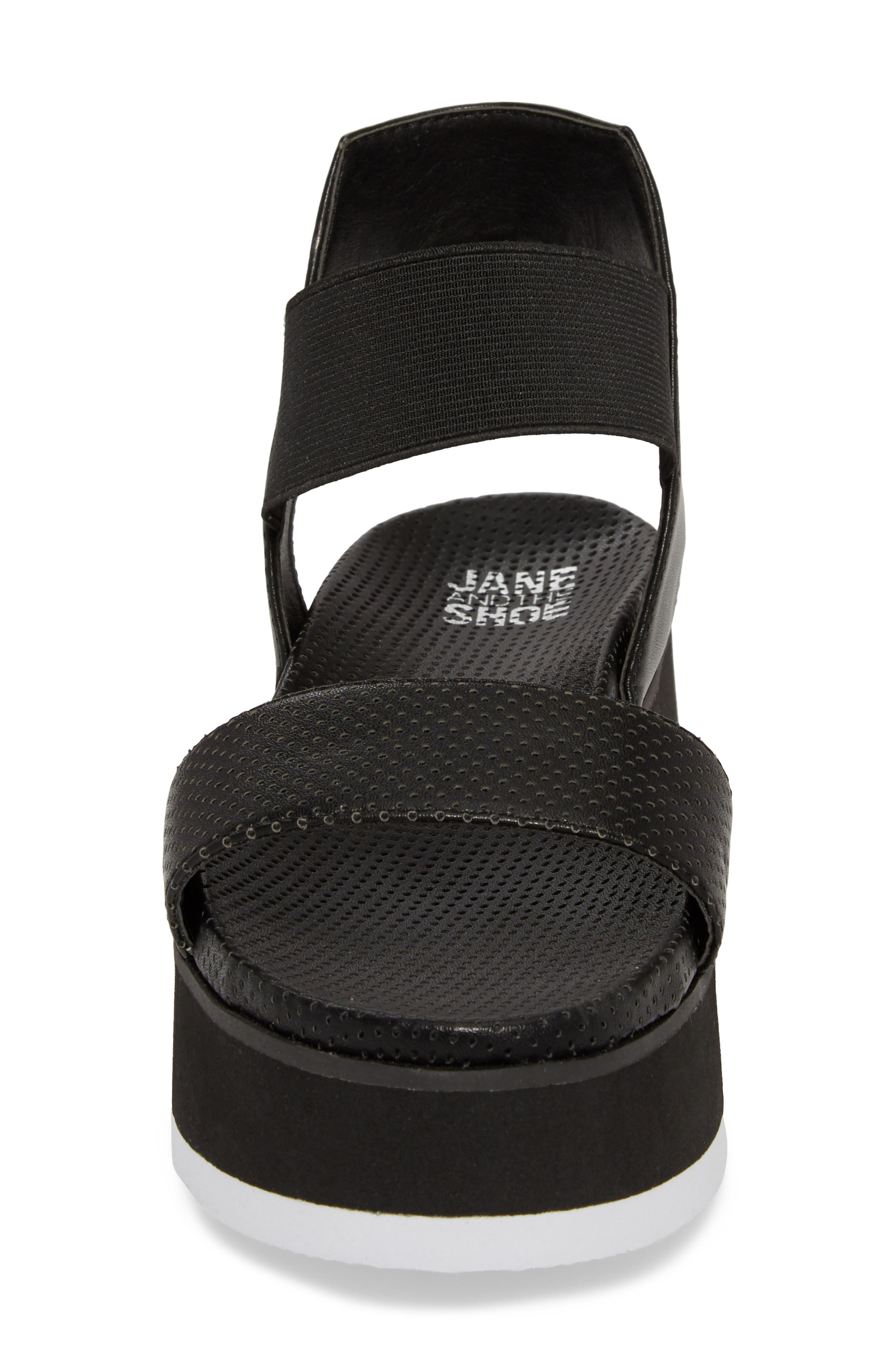 Josie Perforated Platform Sandal,                             Alternate thumbnail 4, color,                             BLACK