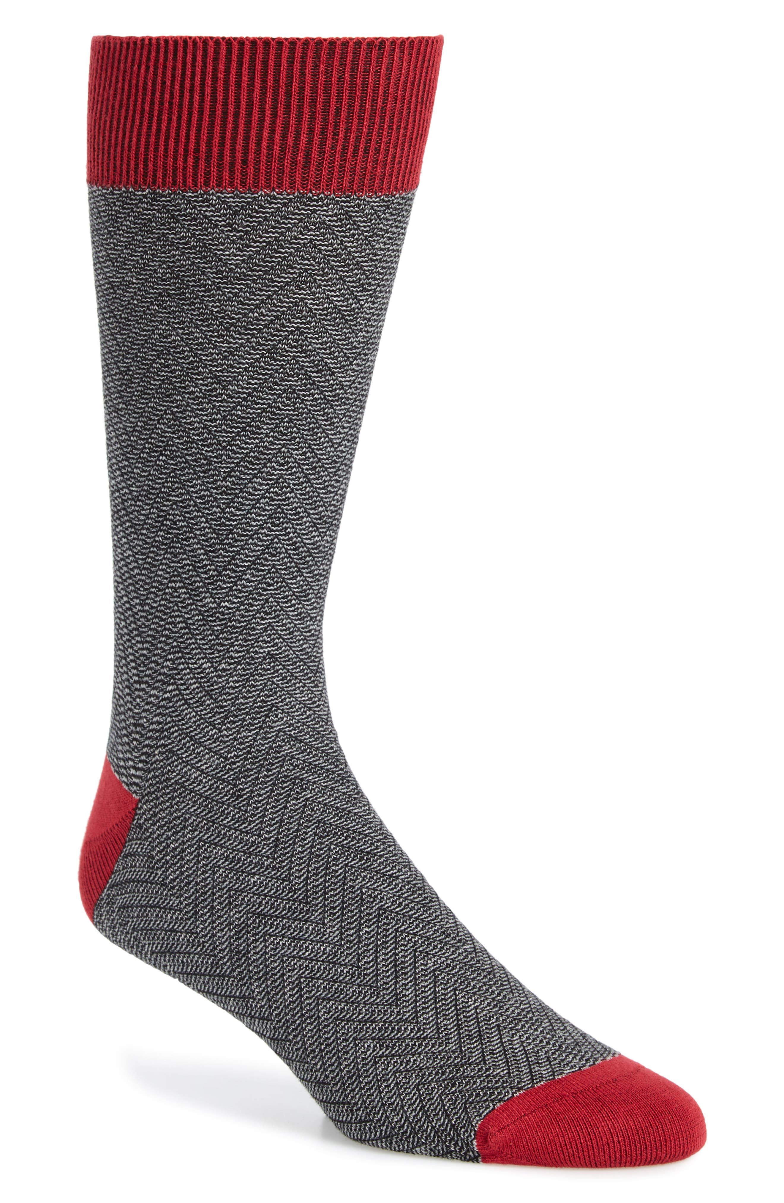 Doni Herringbone Socks,                         Main,                         color, GREY MARLED