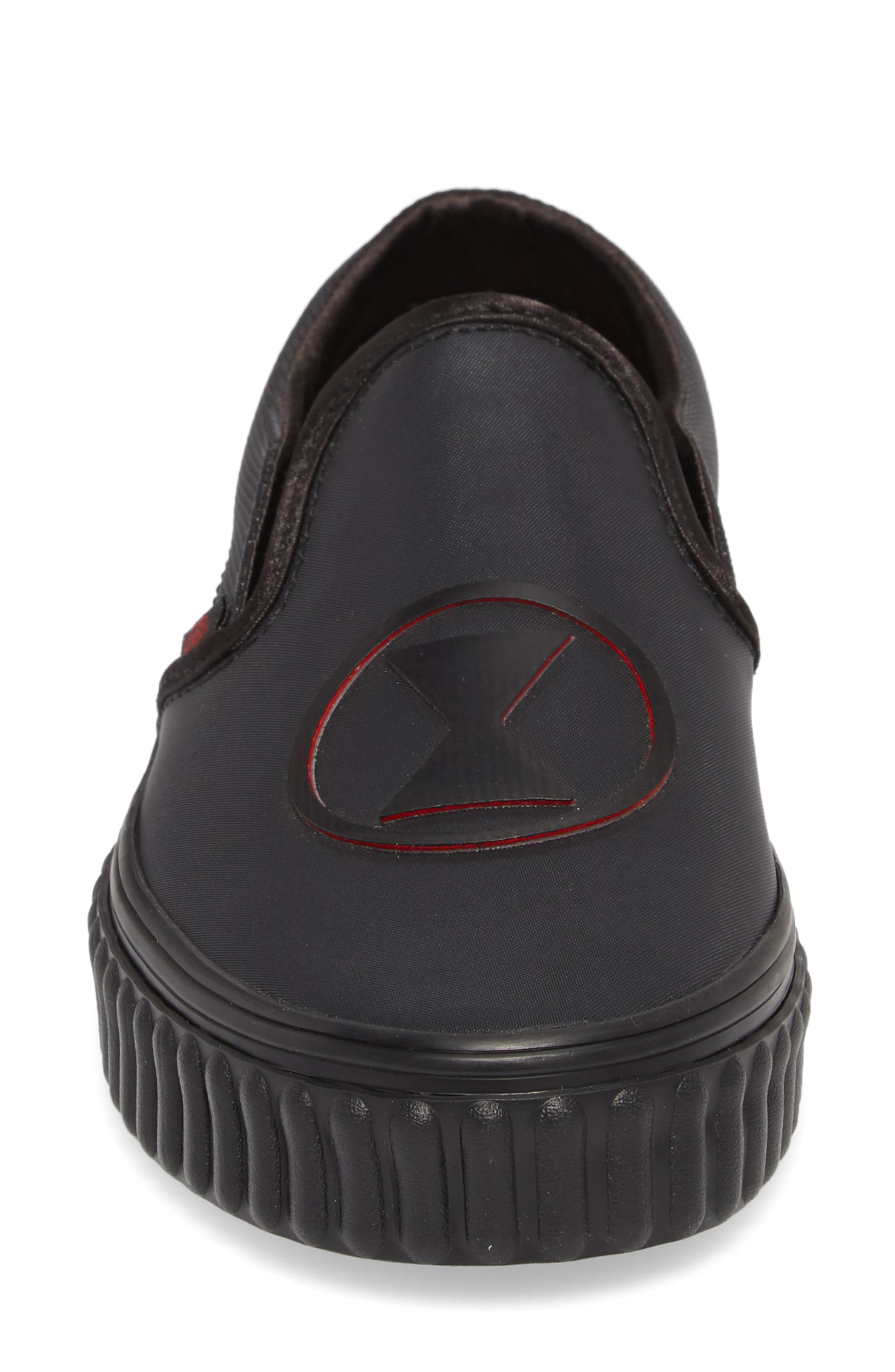 Marvel<sup>®</sup> Black Widow Classic Slip-On,                             Alternate thumbnail 4, color,                             MARVEL BLACK WIDOW/ BLACK