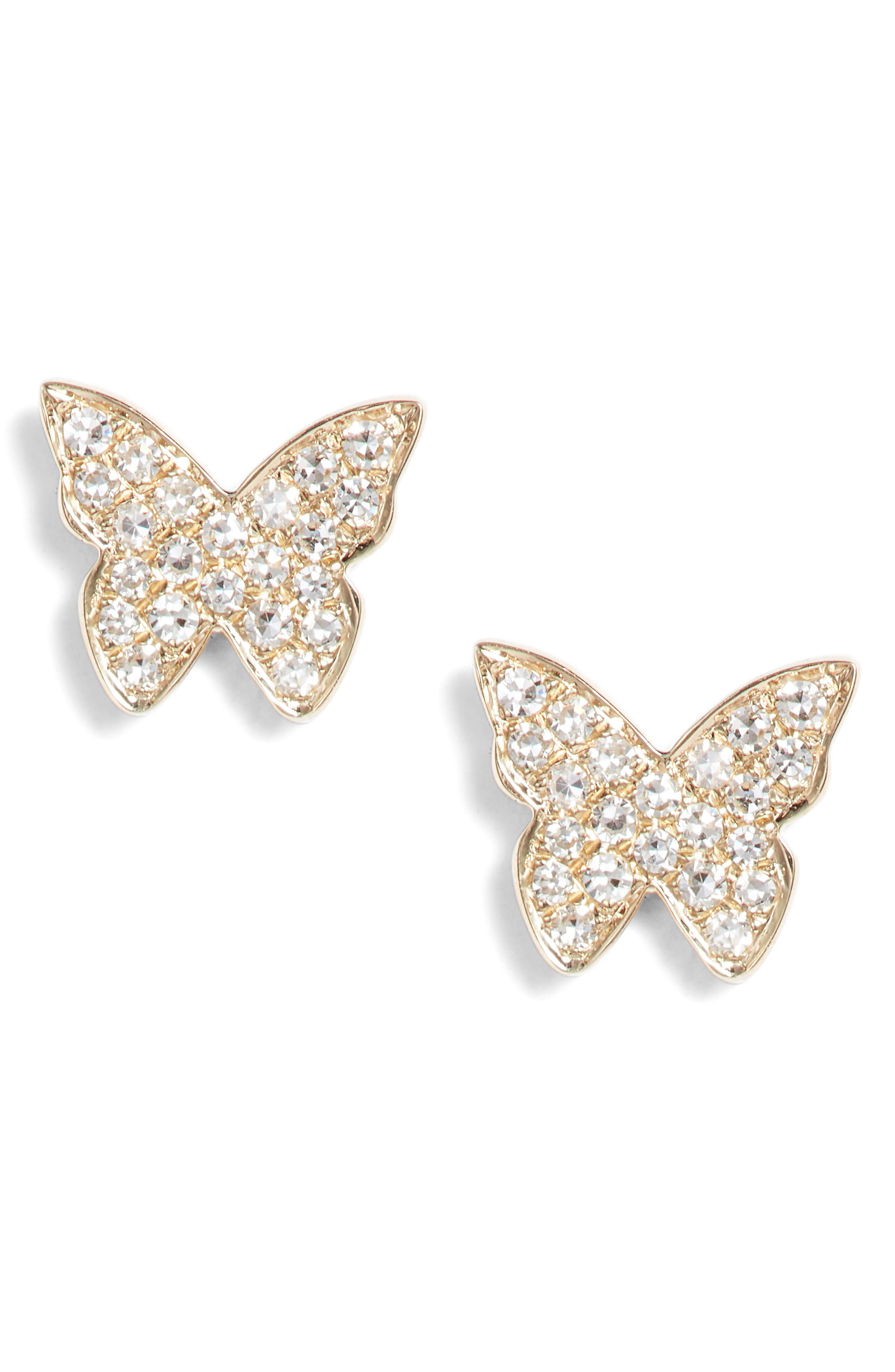 Butterfly Diamond Stud Earrings,                         Main,                         color, YELLOW GOLD