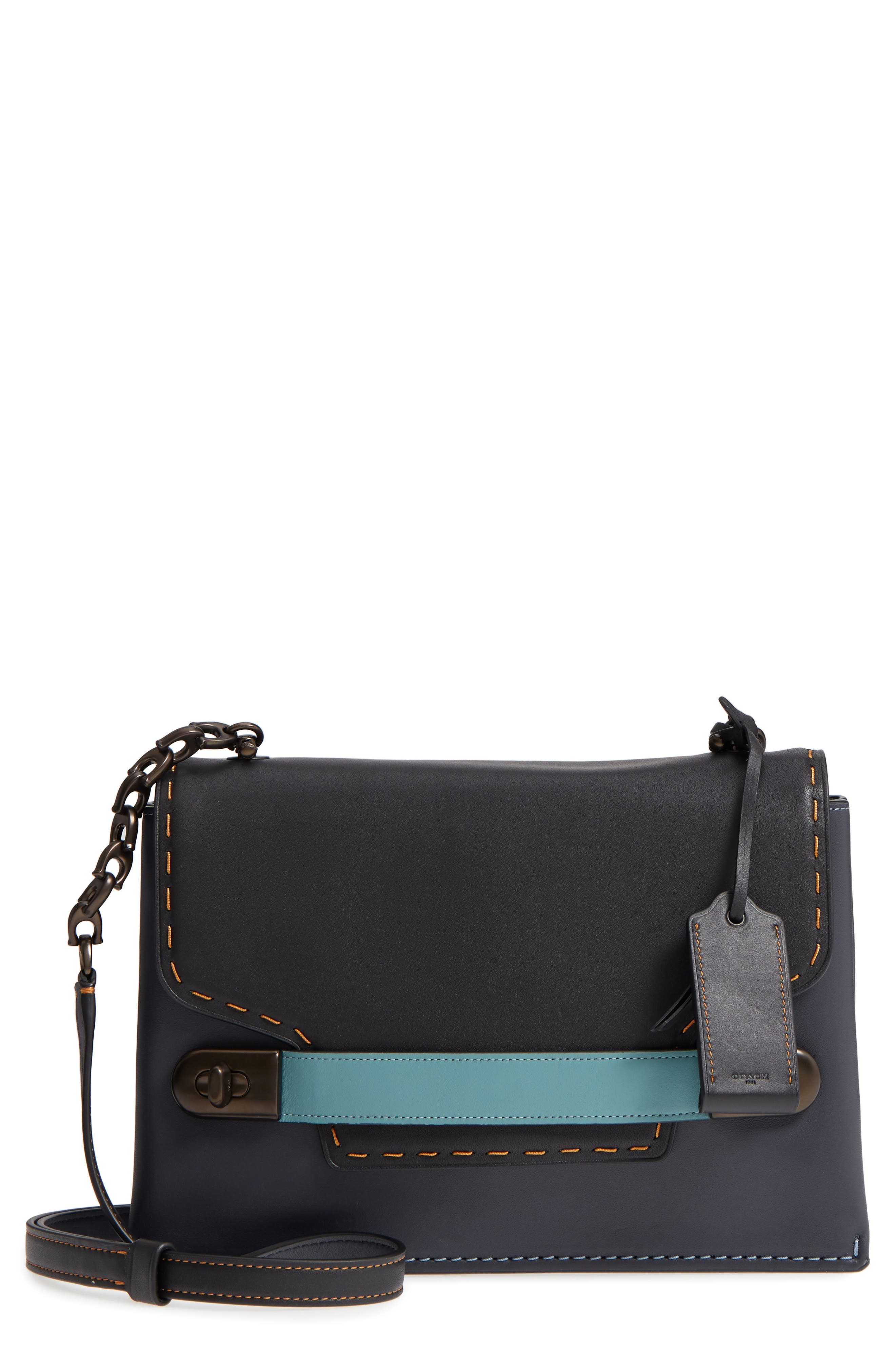 Swagger Chain Leather Crossbody Bag,                             Main thumbnail 1, color,                             428