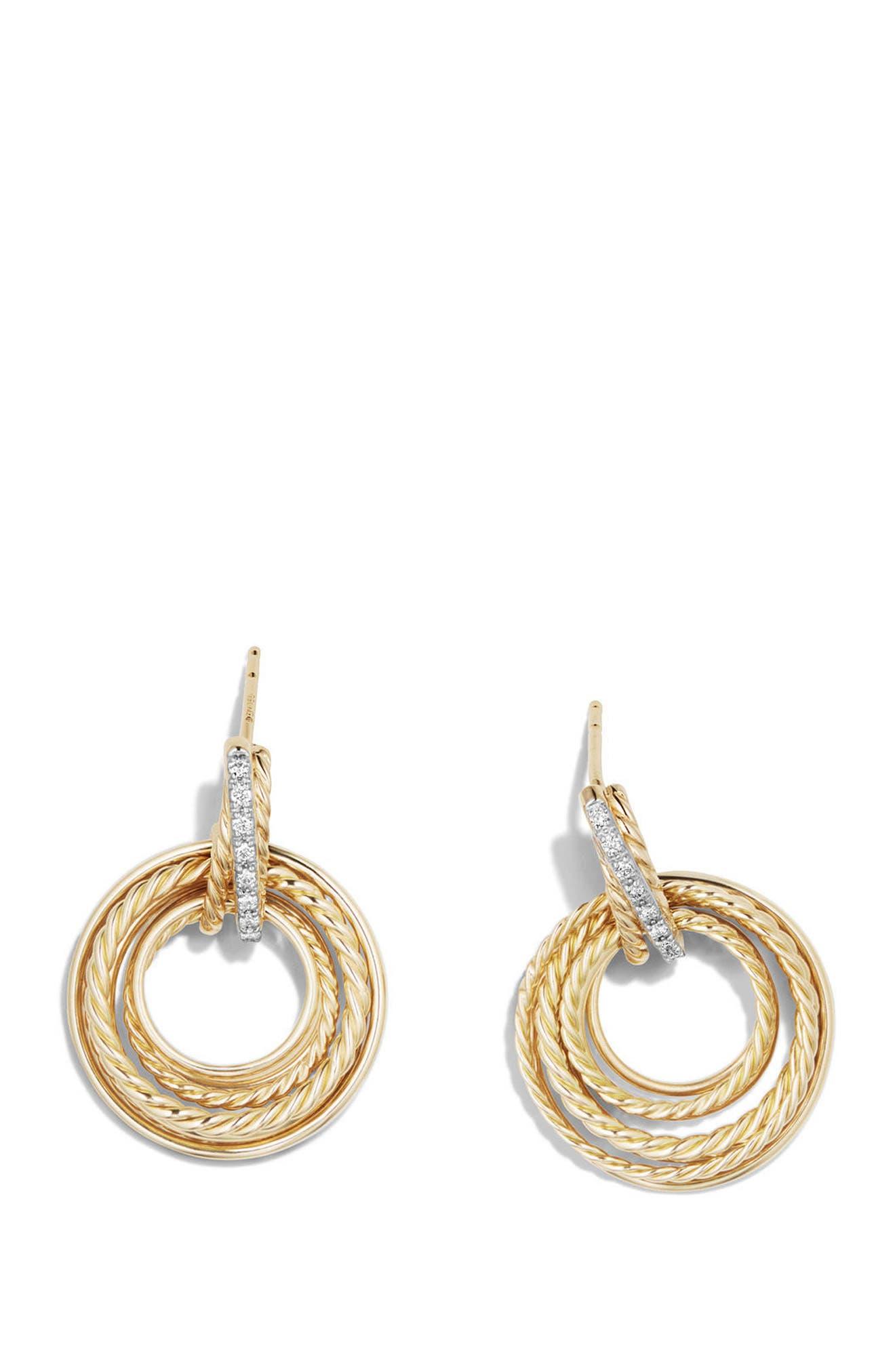 Crossover Diamond Drop Earrings,                             Alternate thumbnail 2, color,                             YELLOW GOLD/ DIAMOND