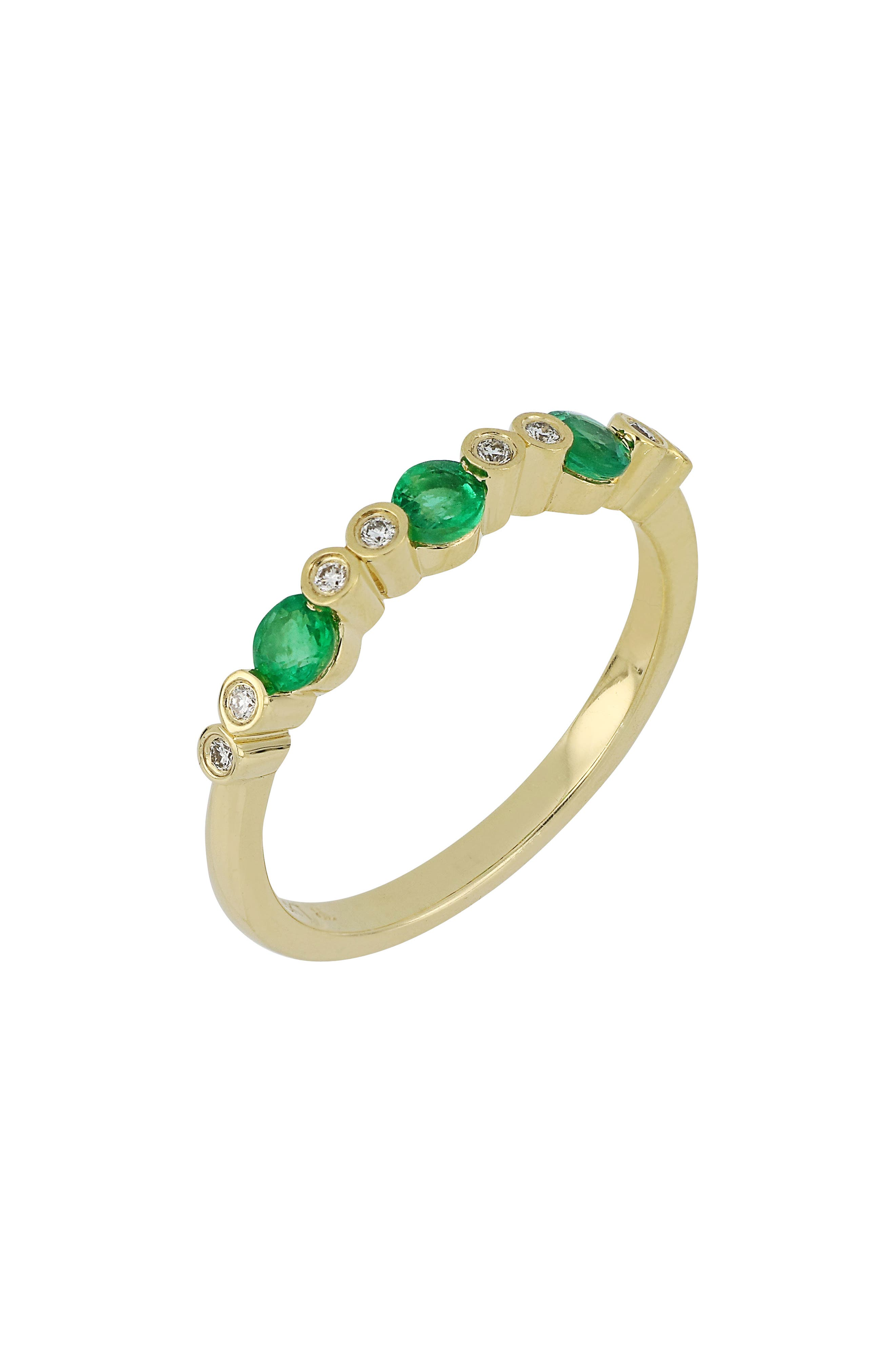 BONY LEVY,                             Diamond & Emerald Ring,                             Main thumbnail 1, color,                             GOLD/ EMERALD