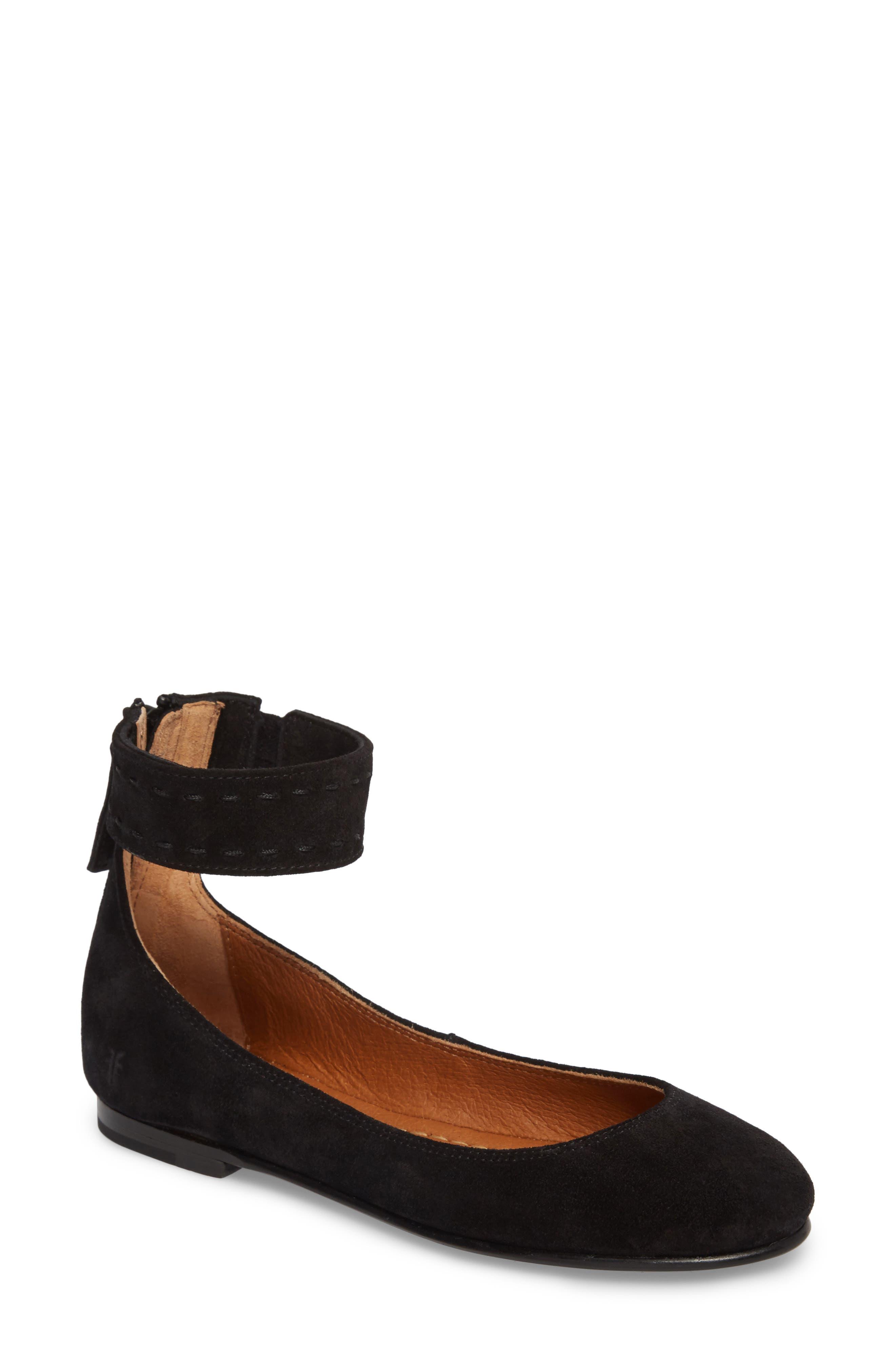Carson Ankle Strap Ballet Flat,                         Main,                         color, 001