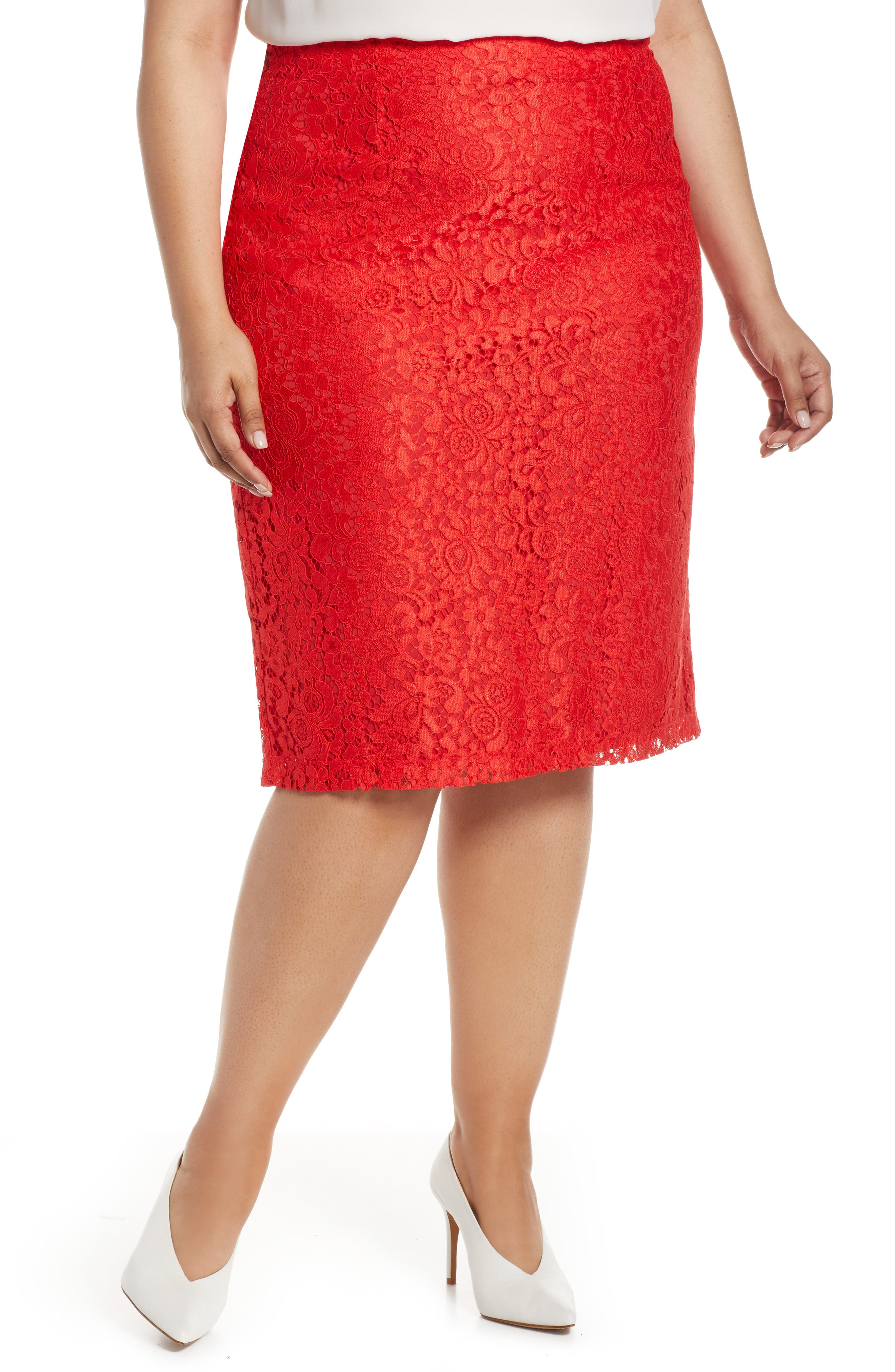 Halogen Lace Pencil Skirt, 8 (similar to 16W) - Red
