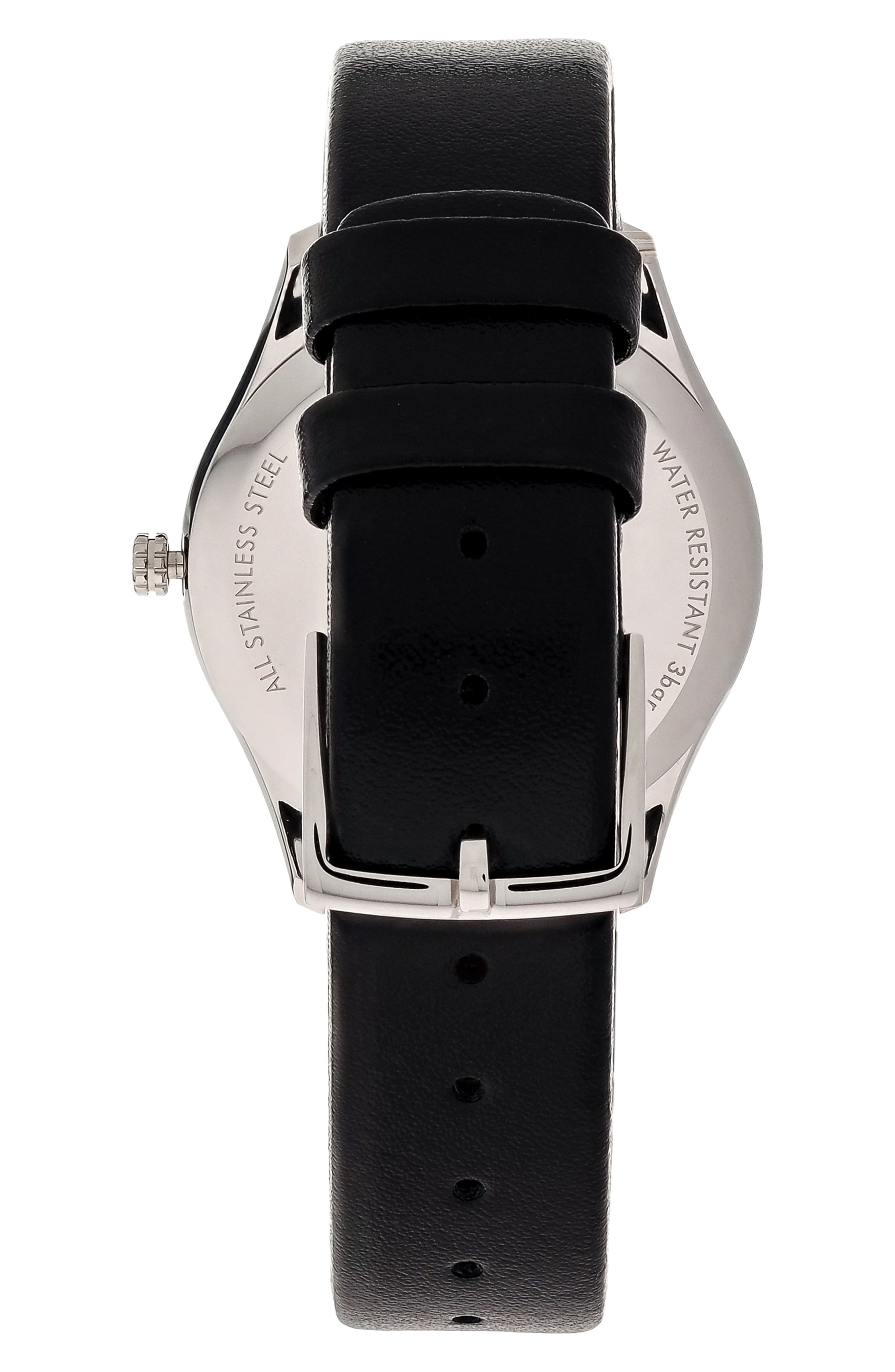 Classic Leather Strap Watch, 32mm,                             Alternate thumbnail 2, color,                             BLACK/ SILVER
