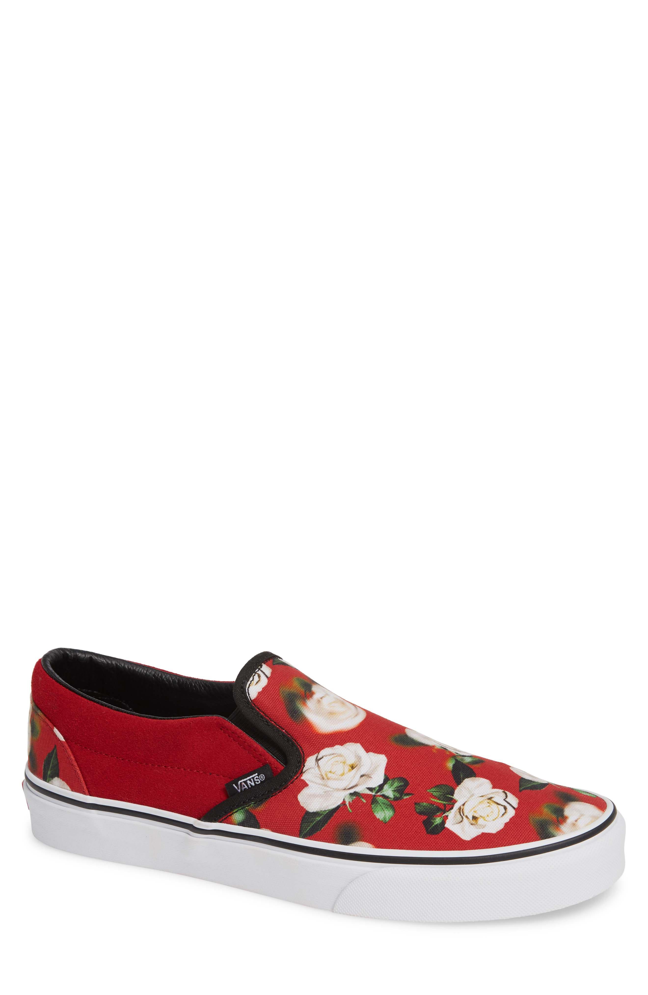 'Classic' Slip-On Sneaker,                             Main thumbnail 1, color,                             CHILI PEPPER/ ROMANTIC FLORAL