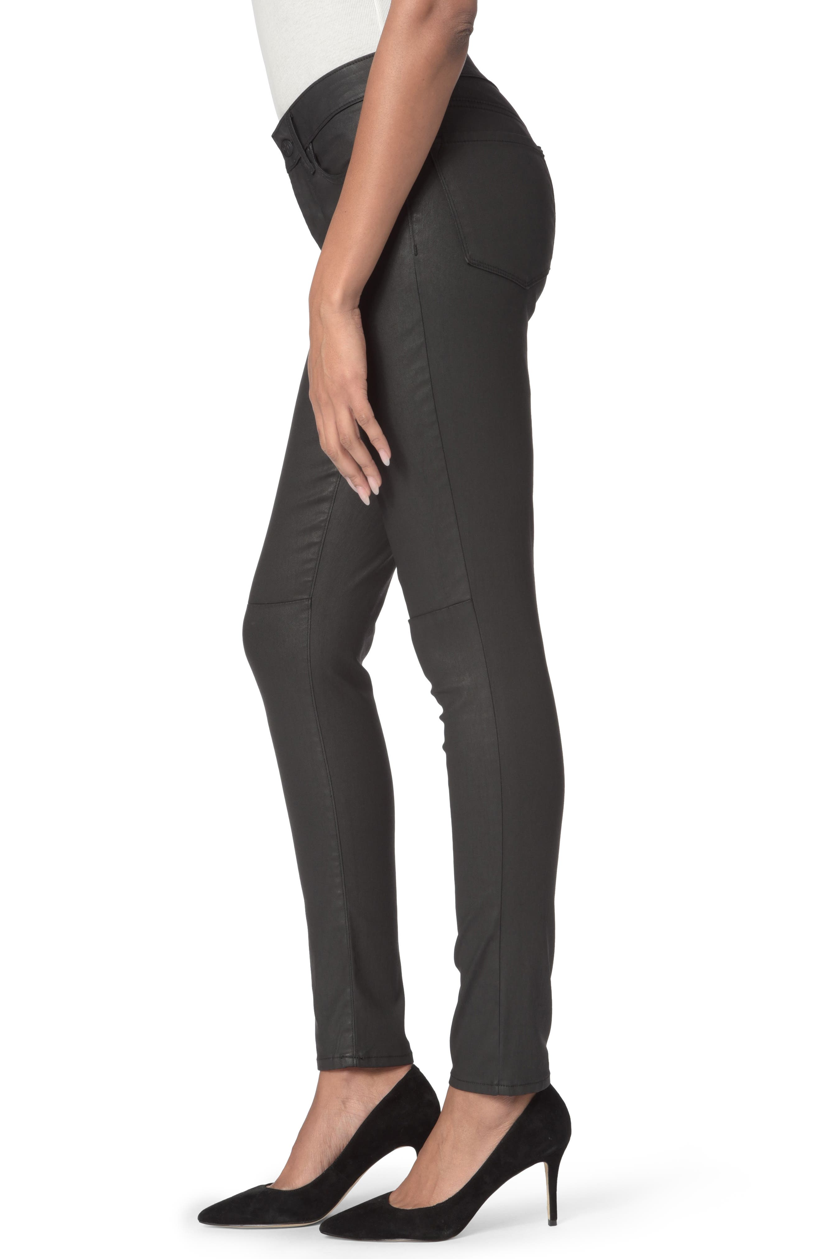 High Waist  Coated Stretch Skinny Jeans,                             Alternate thumbnail 6, color,