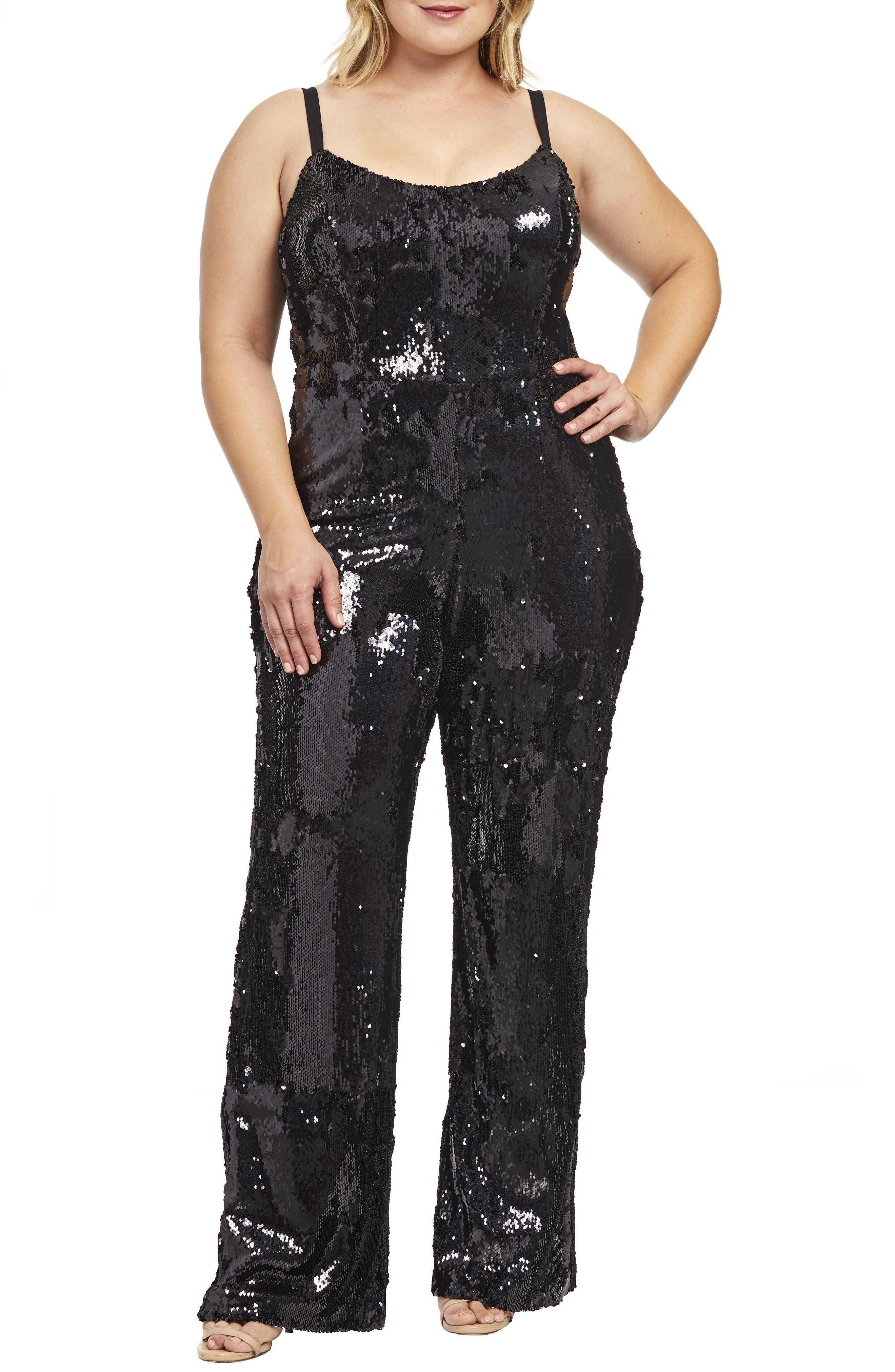 60s 70s Plus Size Dresses, Clothing, Costumes Plus Size Womens Dress The Population Victoria Sequin Jumpsuit Size 3X - Black $316.00 AT vintagedancer.com