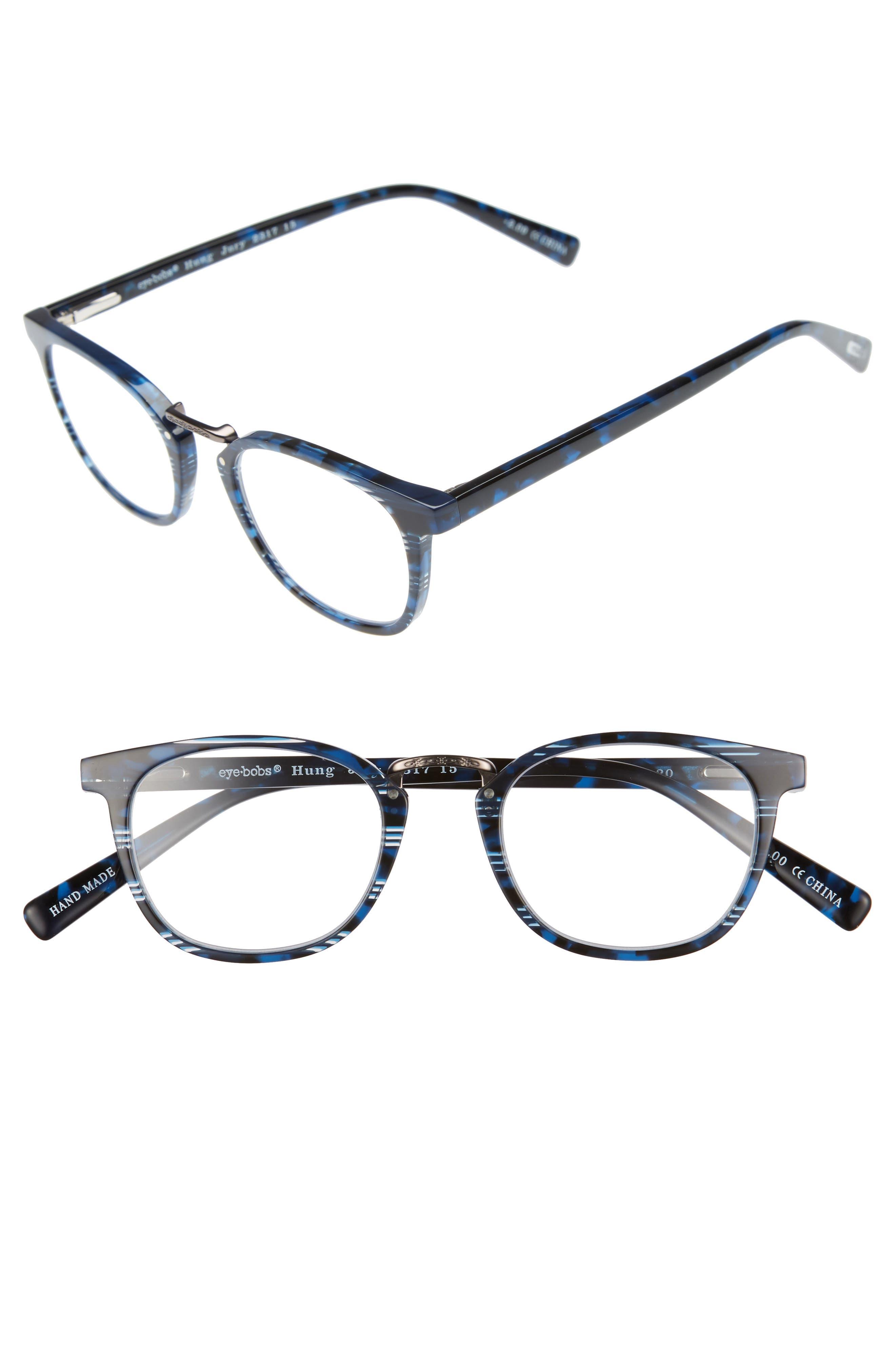 Hung Jury 46mm Reading Glasses,                             Main thumbnail 1, color,                             BLUE TORTOISE