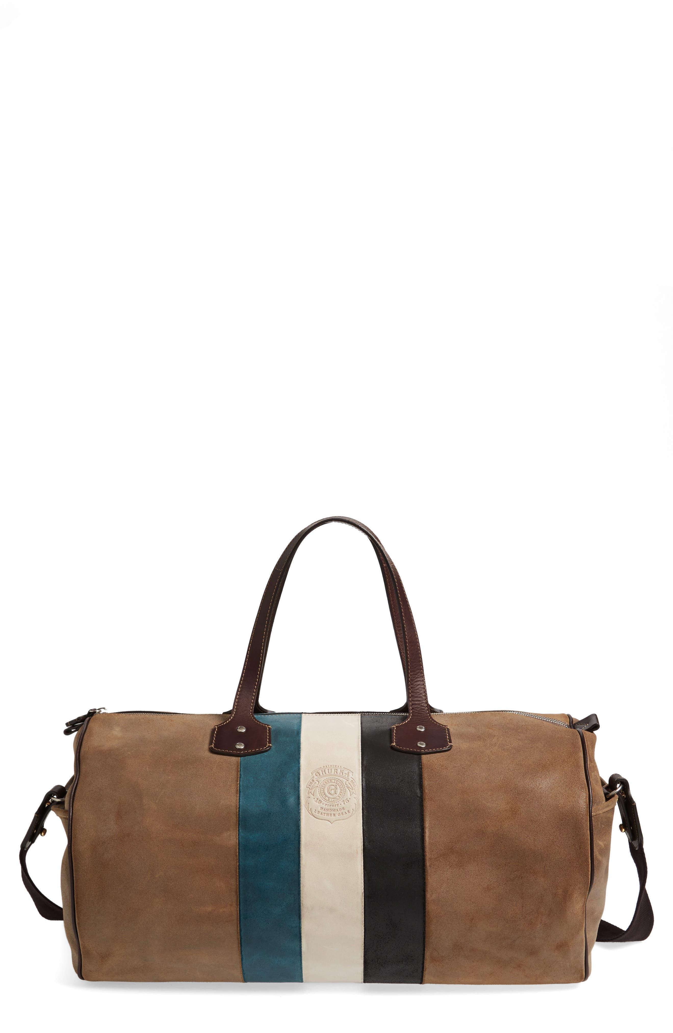 Grove Stripe Leather Duffel Bag,                             Main thumbnail 1, color,                             250