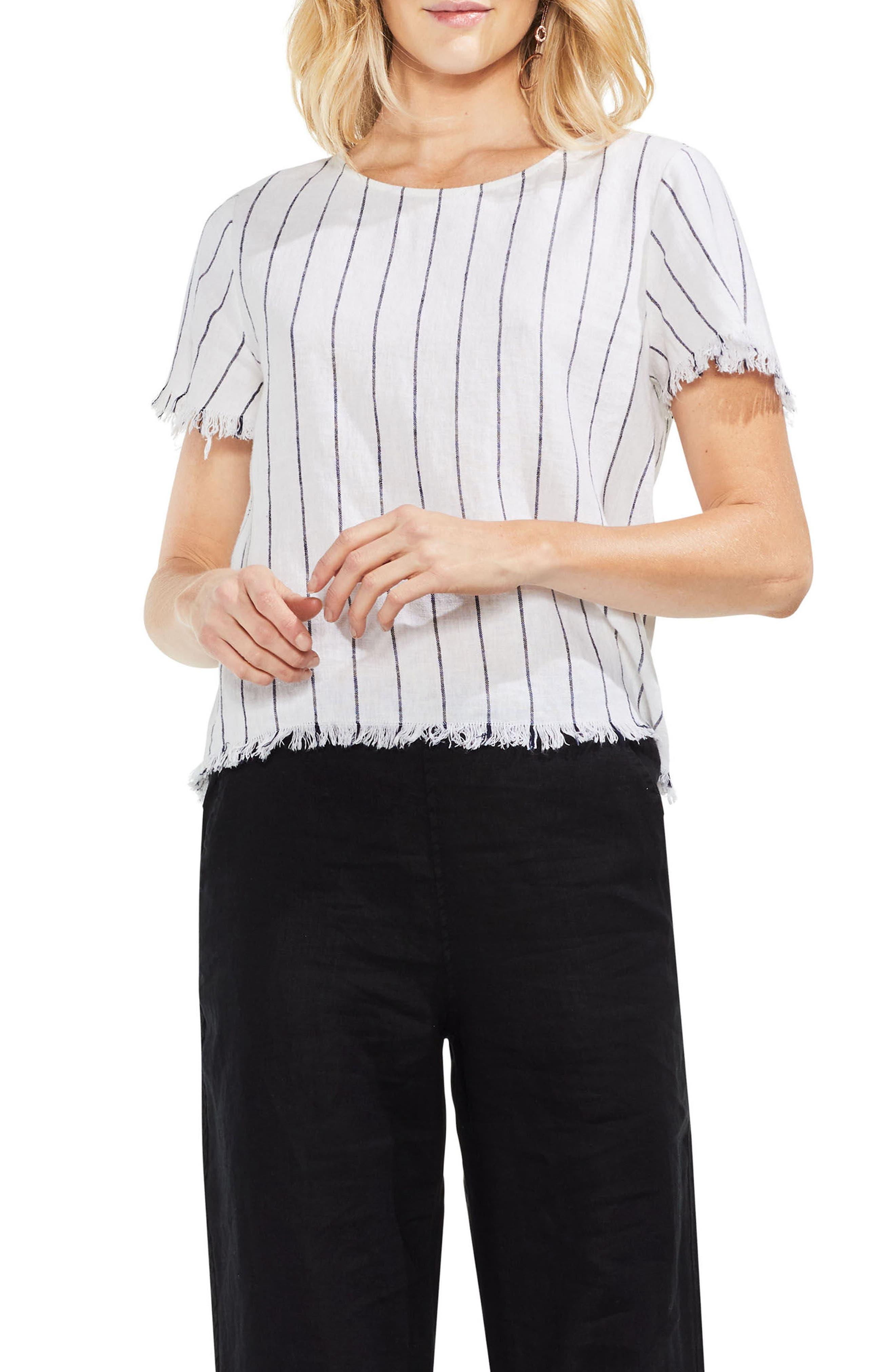 Fray Edge Pinstripe Linen Blend Top,                         Main,                         color,
