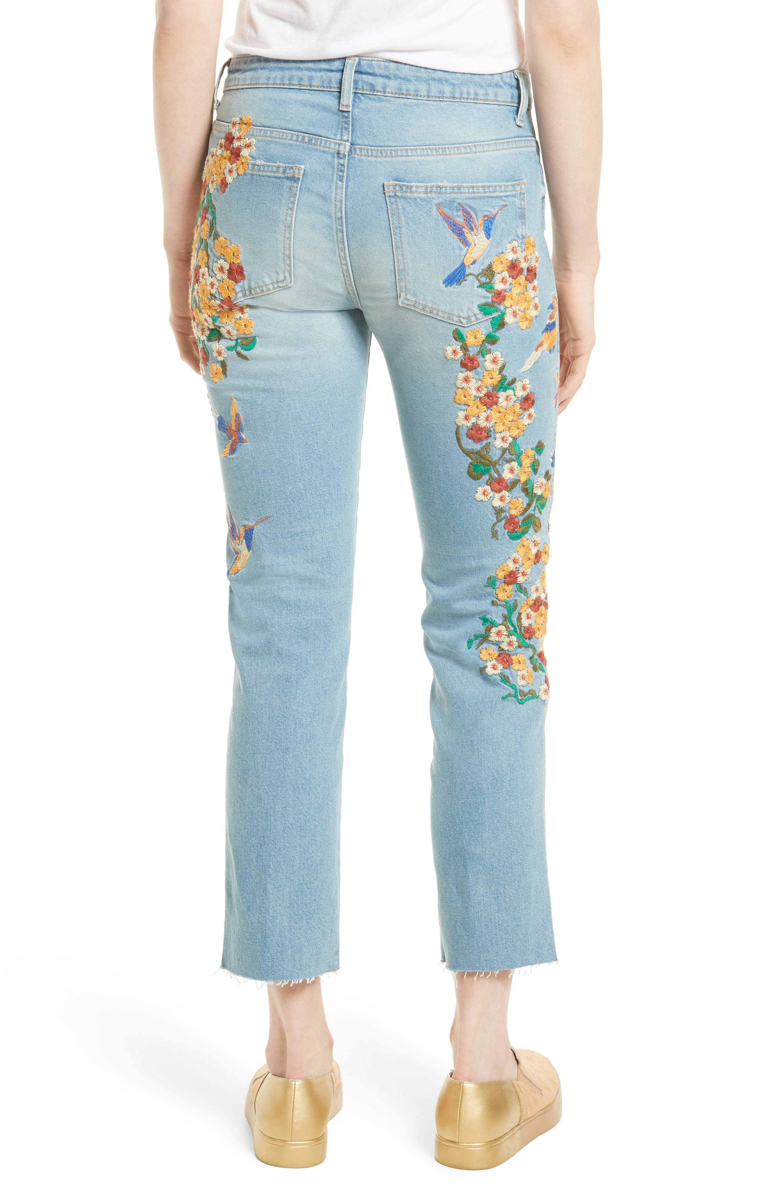 Embroidered Crop Girlfriend Jeans,                             Alternate thumbnail 2, color,                             400