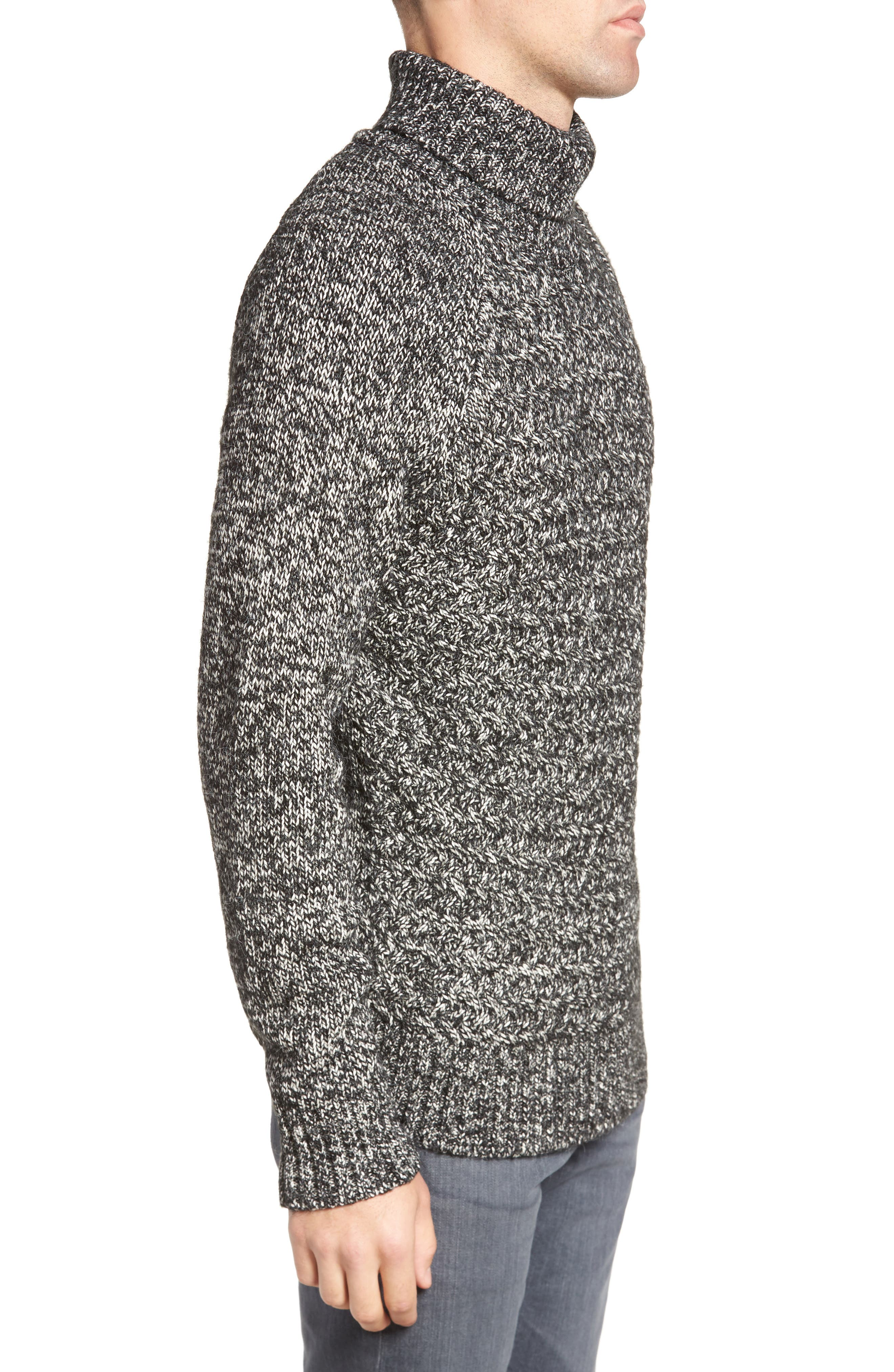 Marled Cable Knit Turtleneck Sweater,                             Alternate thumbnail 3, color,                             001