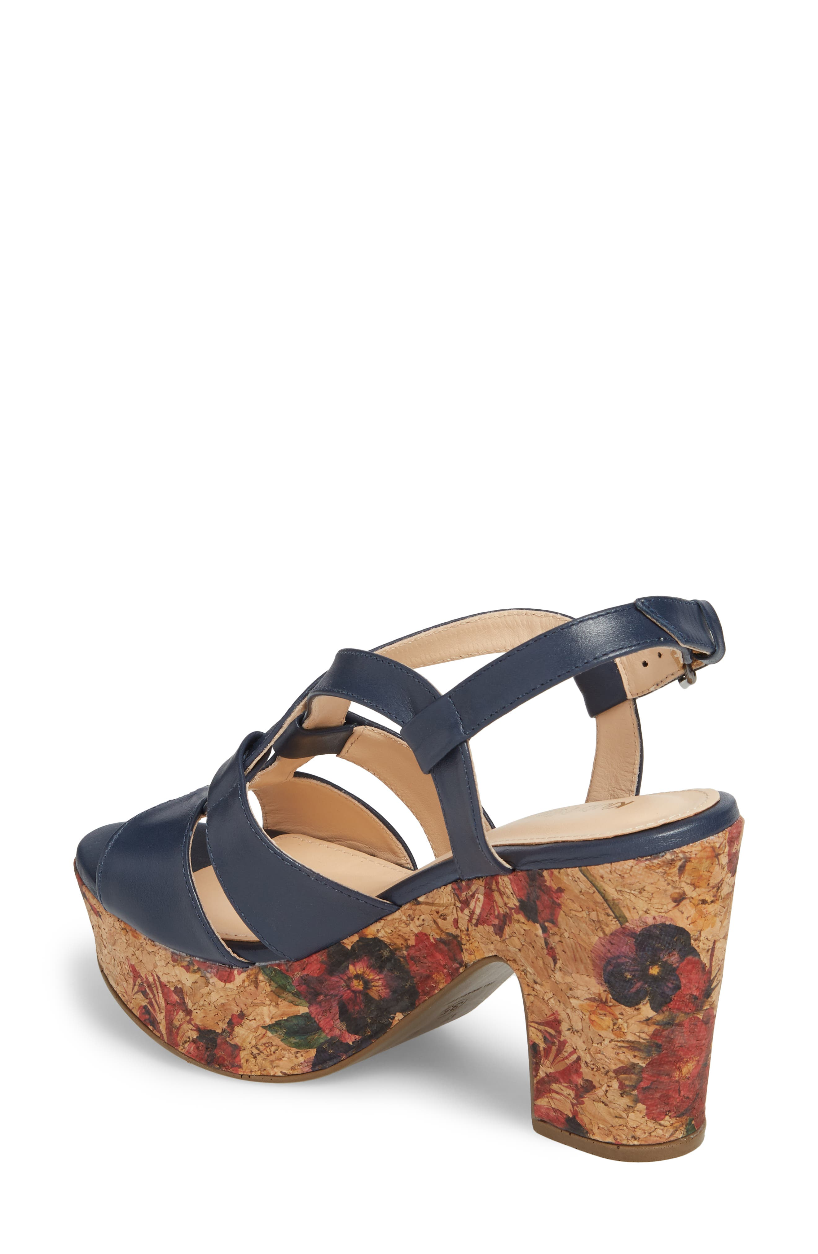 KLUB NICO,                             Victoria Platform Sandal,                             Alternate thumbnail 2, color,                             NAVY LEATHER