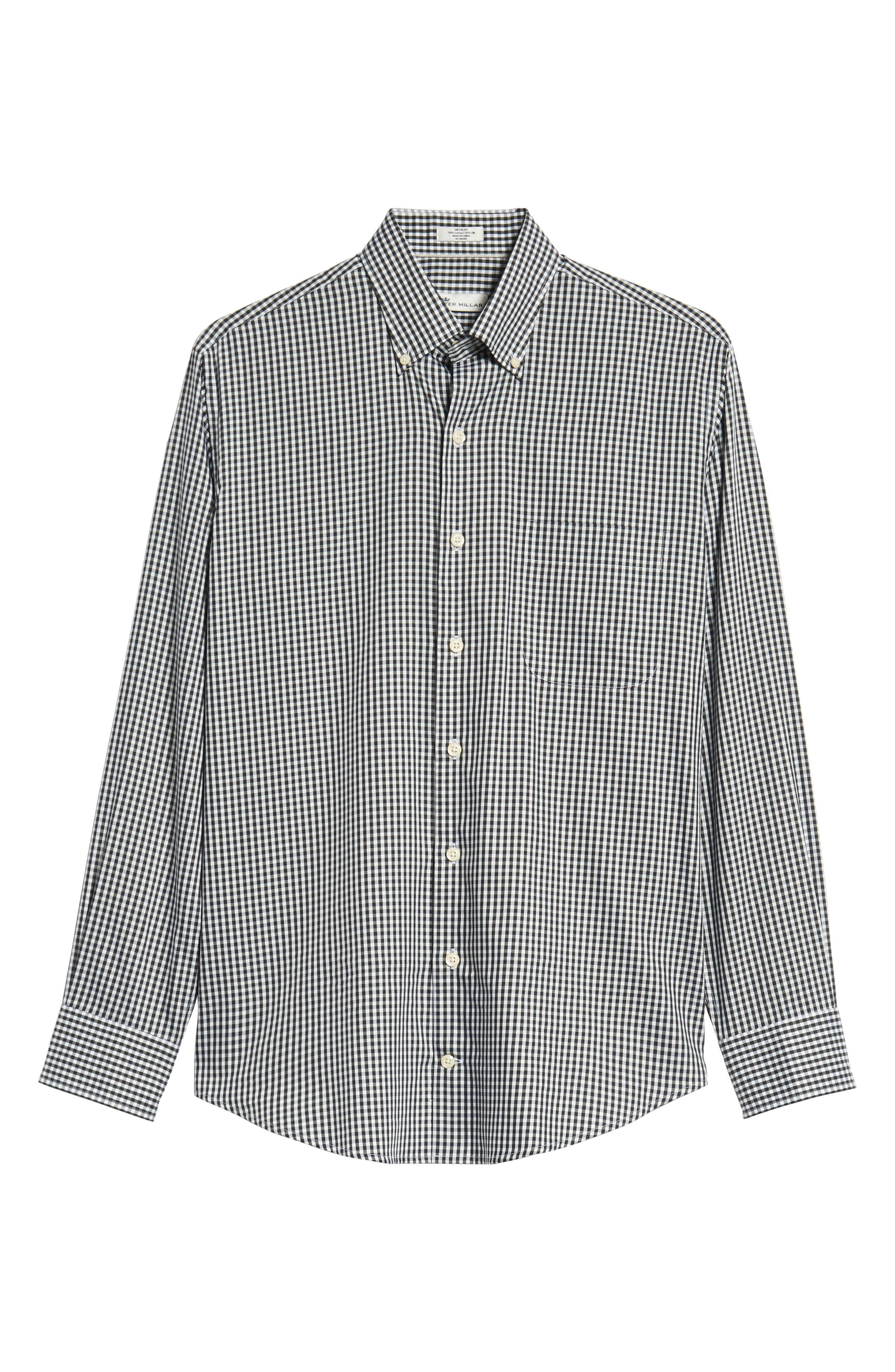 Crown Soft Gingham Regular Fit Sport Shirt,                             Alternate thumbnail 5, color,                             BLACK