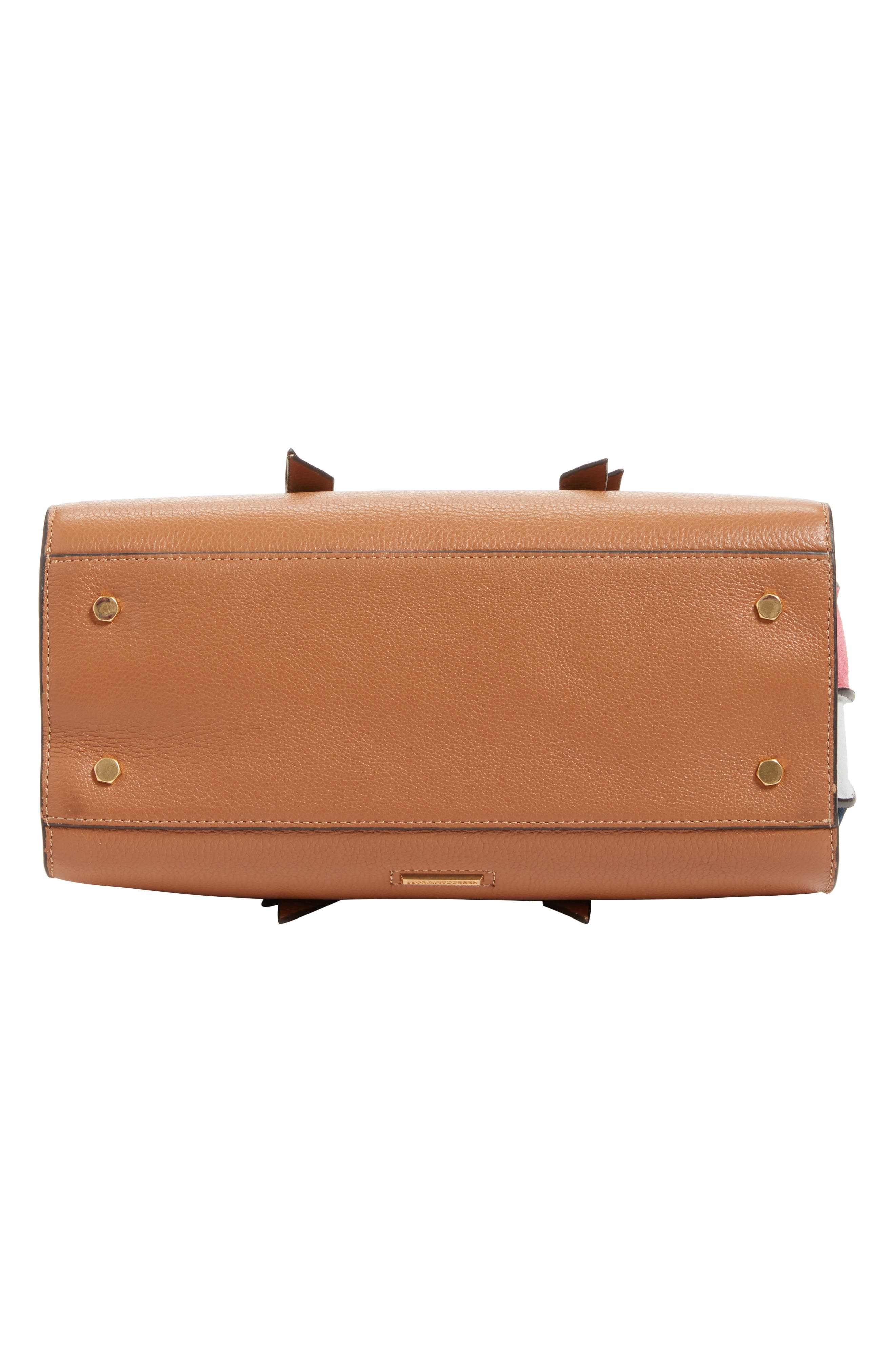 Sherry Calfskin Leather Satchel,                             Alternate thumbnail 6, color,                             ALMOND MULTI