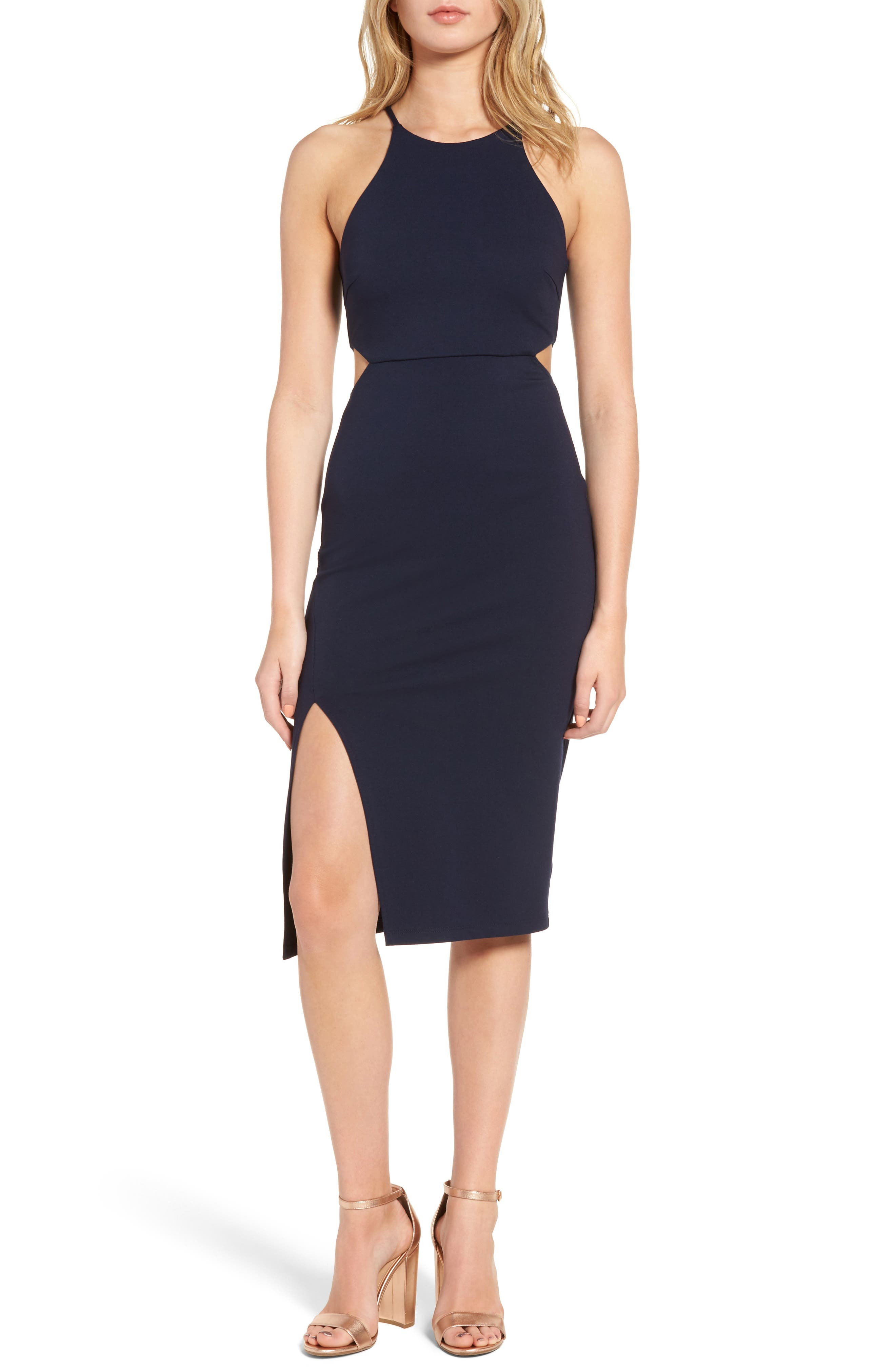 Side Cutout Body Con Dress,                             Main thumbnail 3, color,