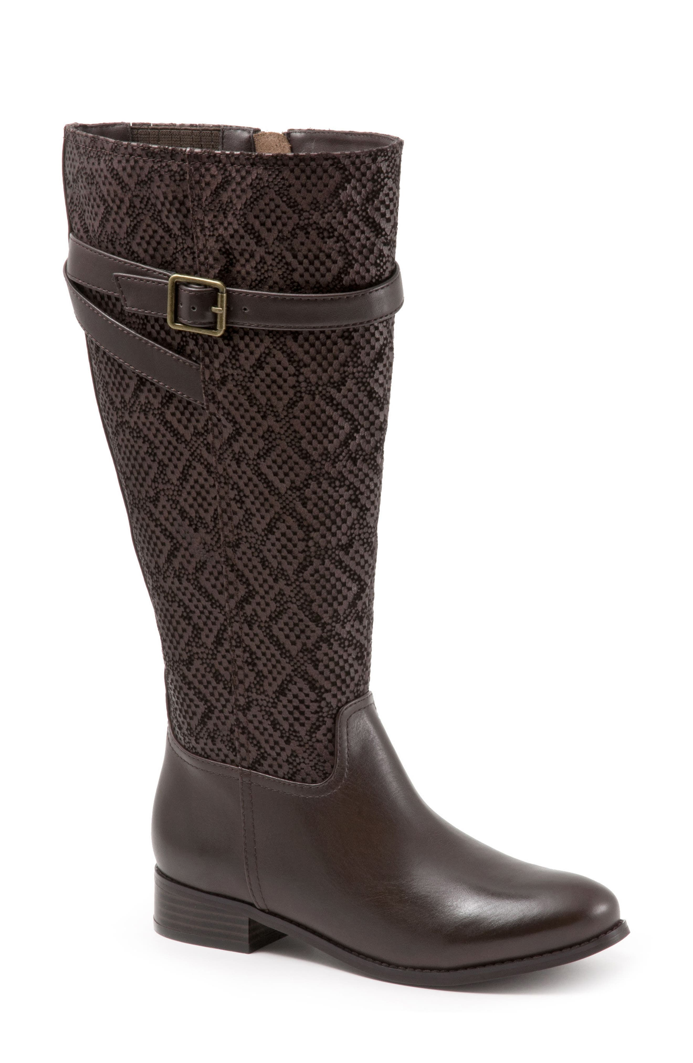 Trotters Lyra Tall Boot, Wide Calf- Brown