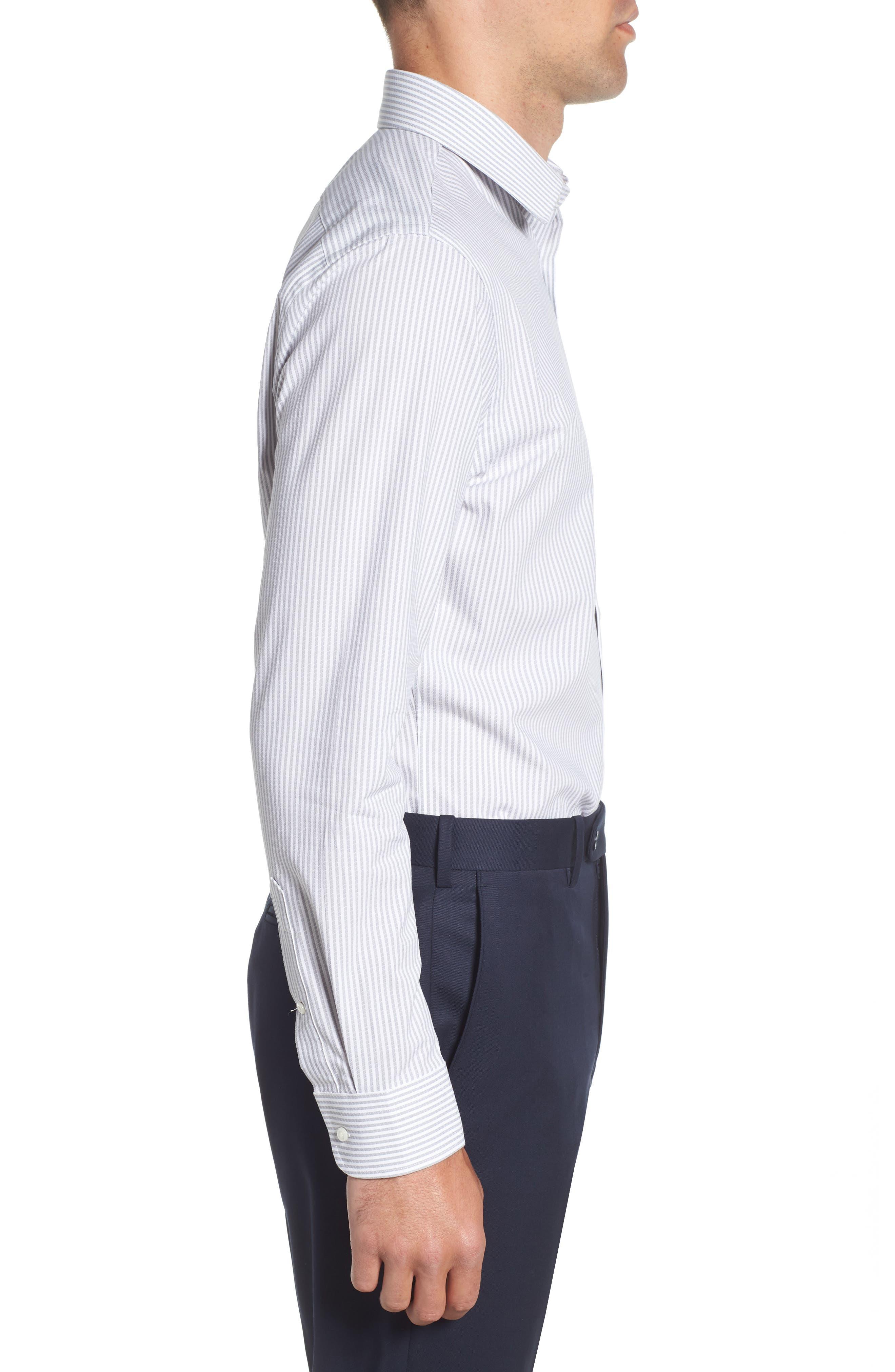 Tech-Smart Trim Fit Stripe Stretch Dress Shirt,                             Alternate thumbnail 4, color,                             050
