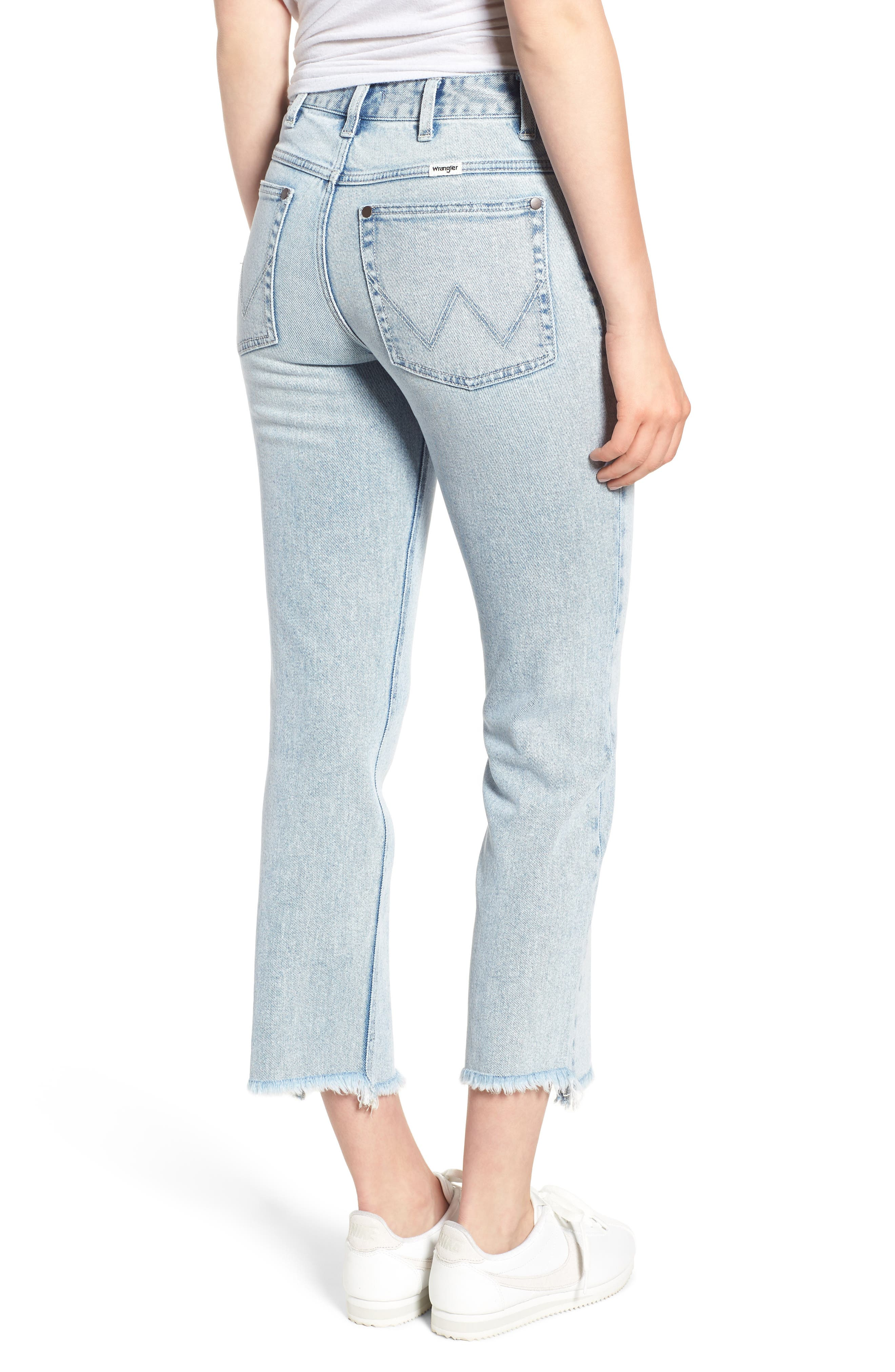 Acid Wash High Waist Crop Jeans,                             Alternate thumbnail 2, color,                             454