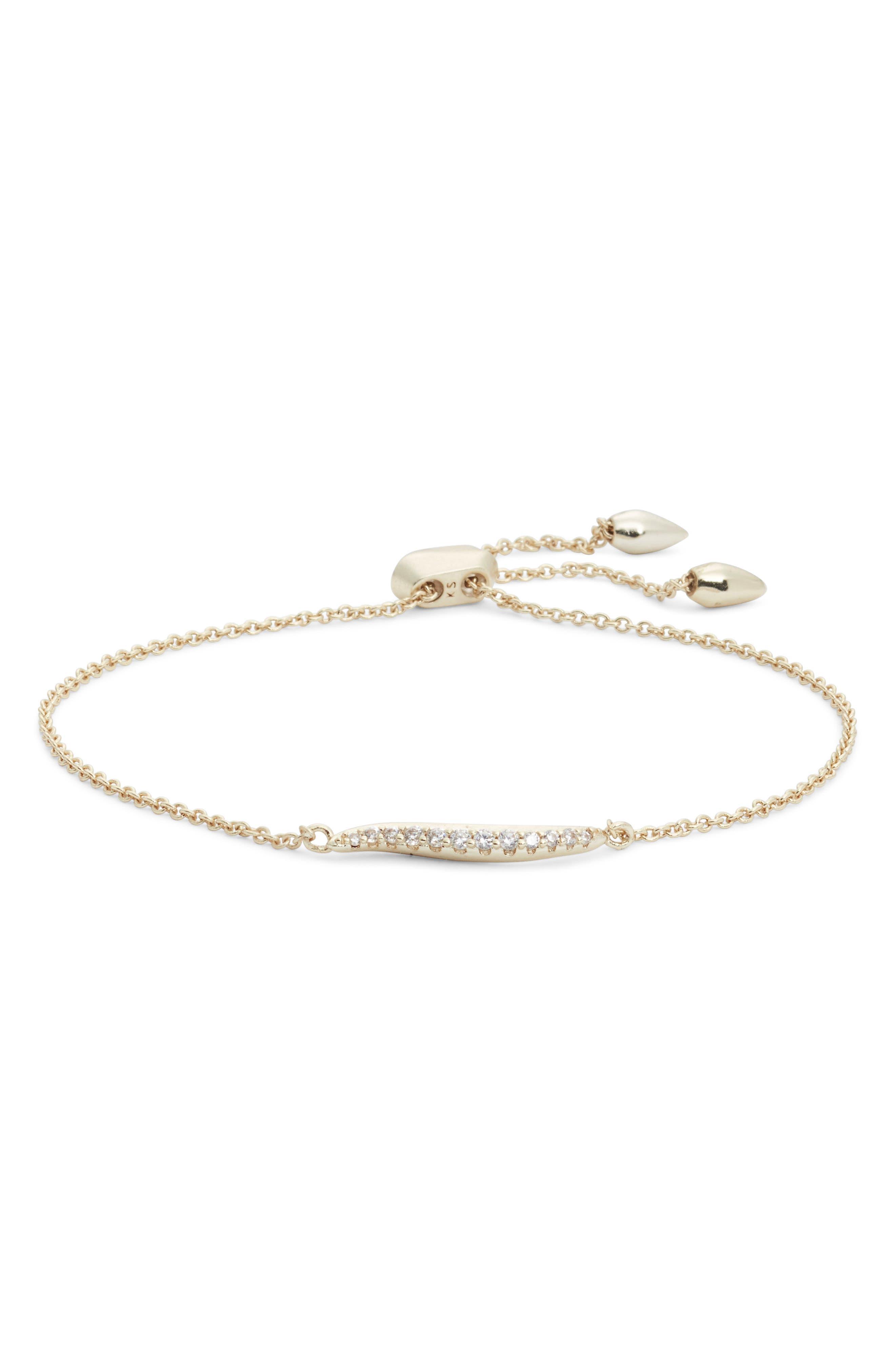 Jemmina Adjustable Bracelet,                             Main thumbnail 1, color,                             WHITE CZ/ GOLD METAL