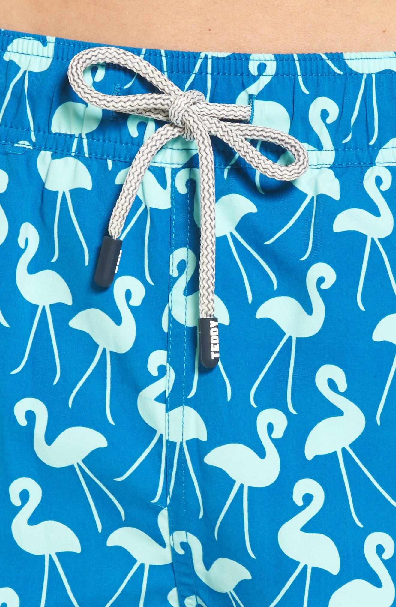 Flamingo Print Swim Trunks,                             Alternate thumbnail 4, color,                             420