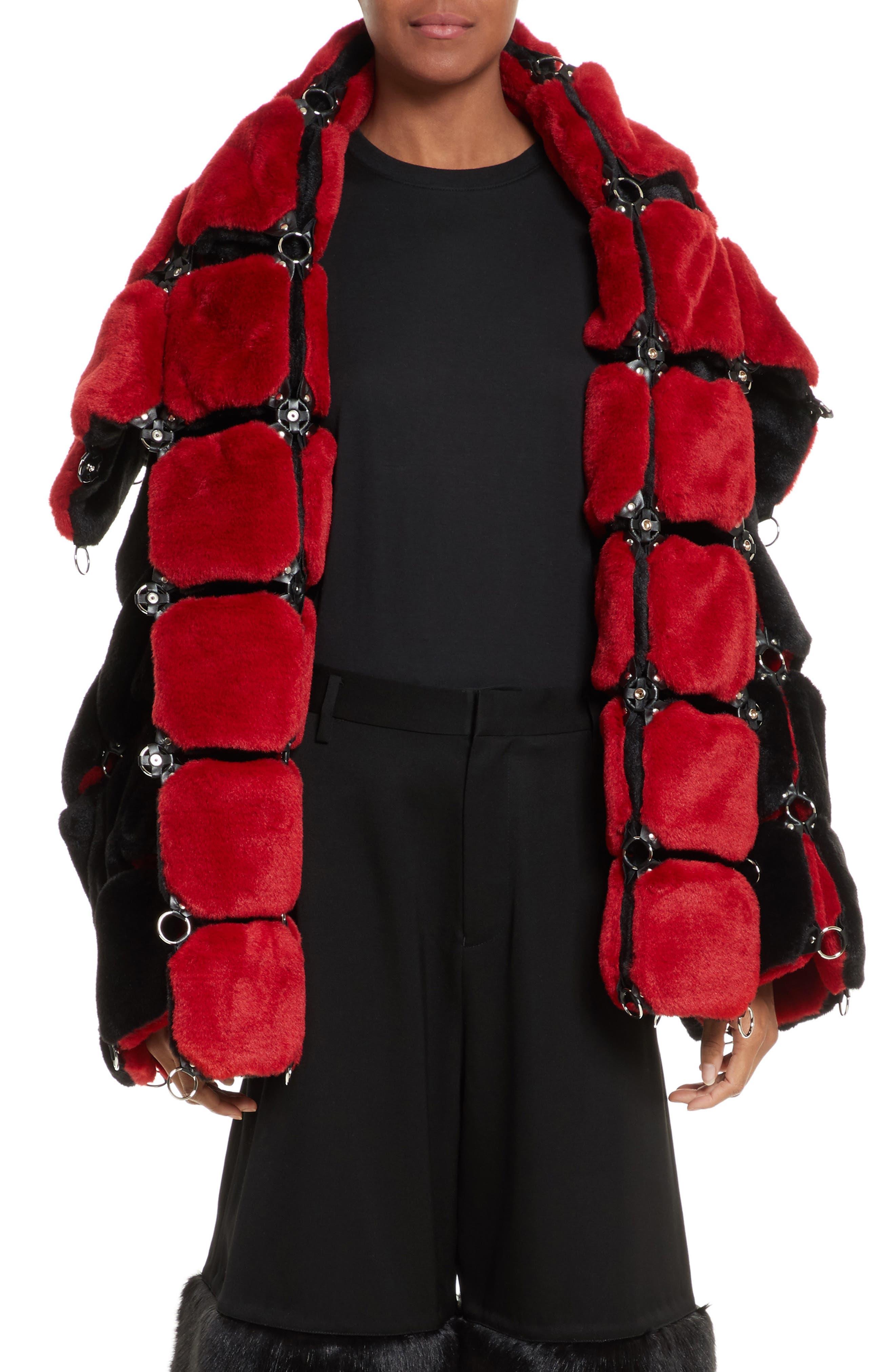 Faux Fur Coat with Chain Mail Detail,                             Main thumbnail 1, color,                             005