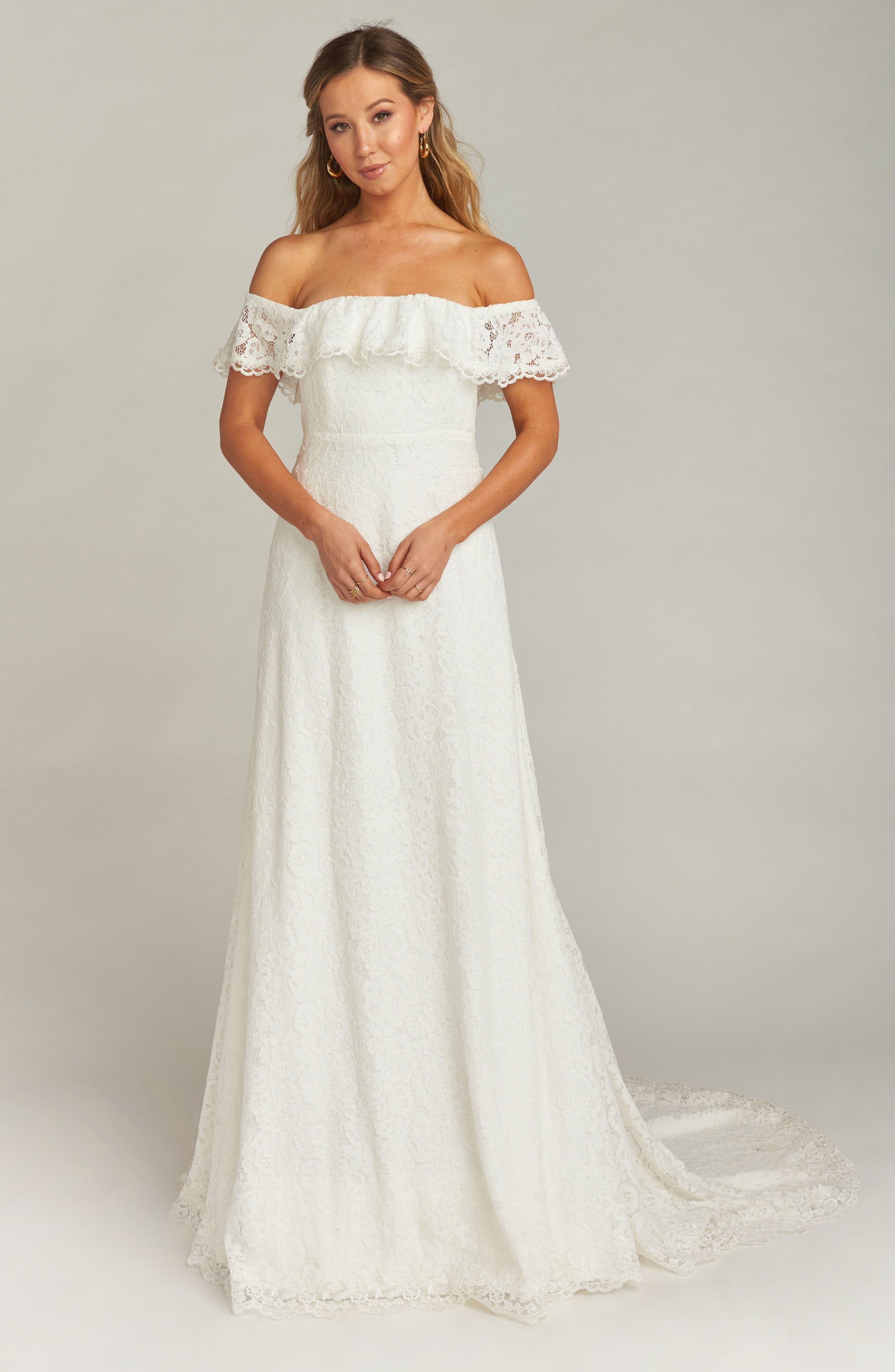 Karolina Off the Shoulder Lace Wedding Dress,                             Main thumbnail 1, color,                             WHITE