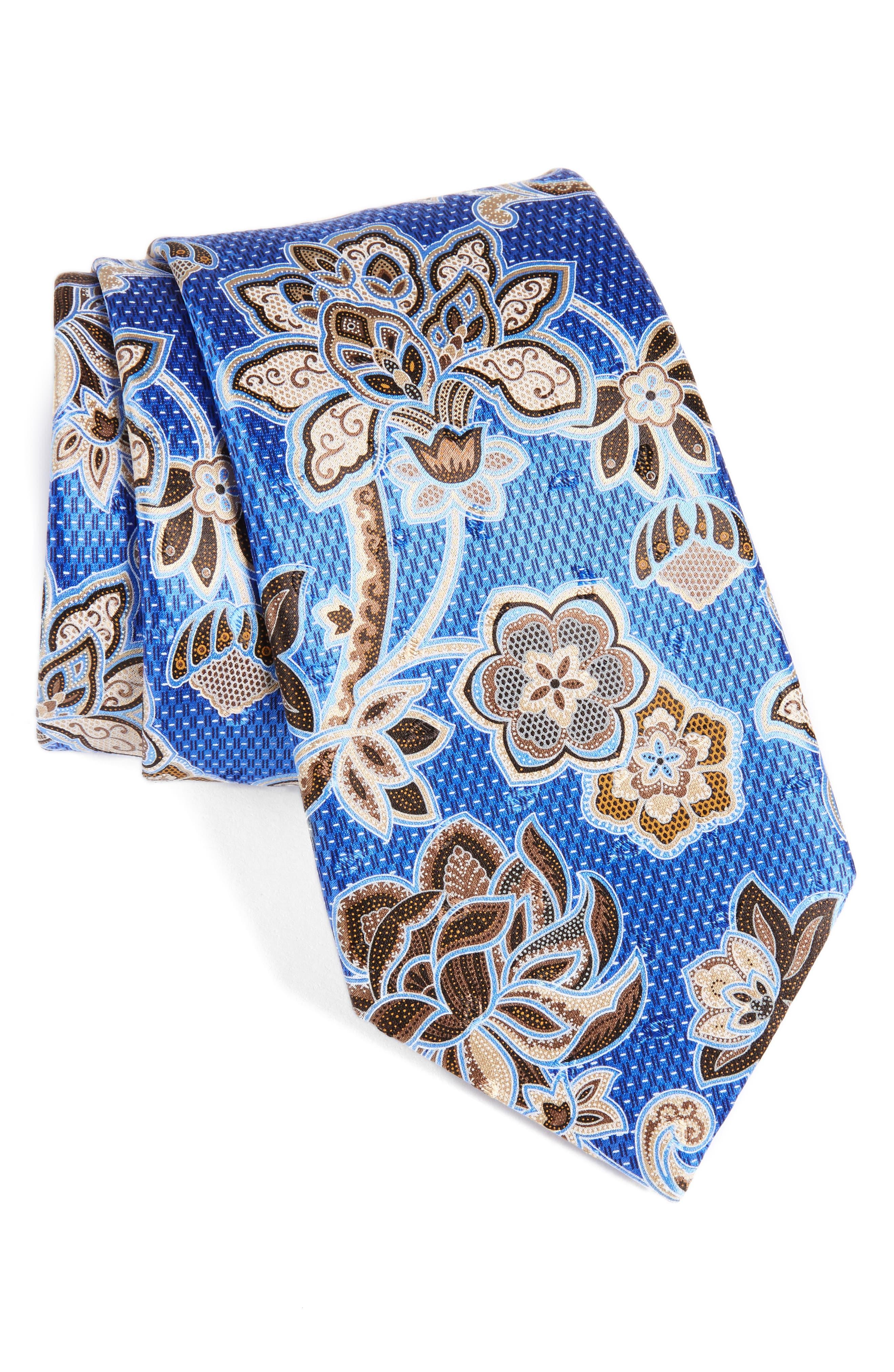 Floral Silk Tie,                             Main thumbnail 1, color,                             428
