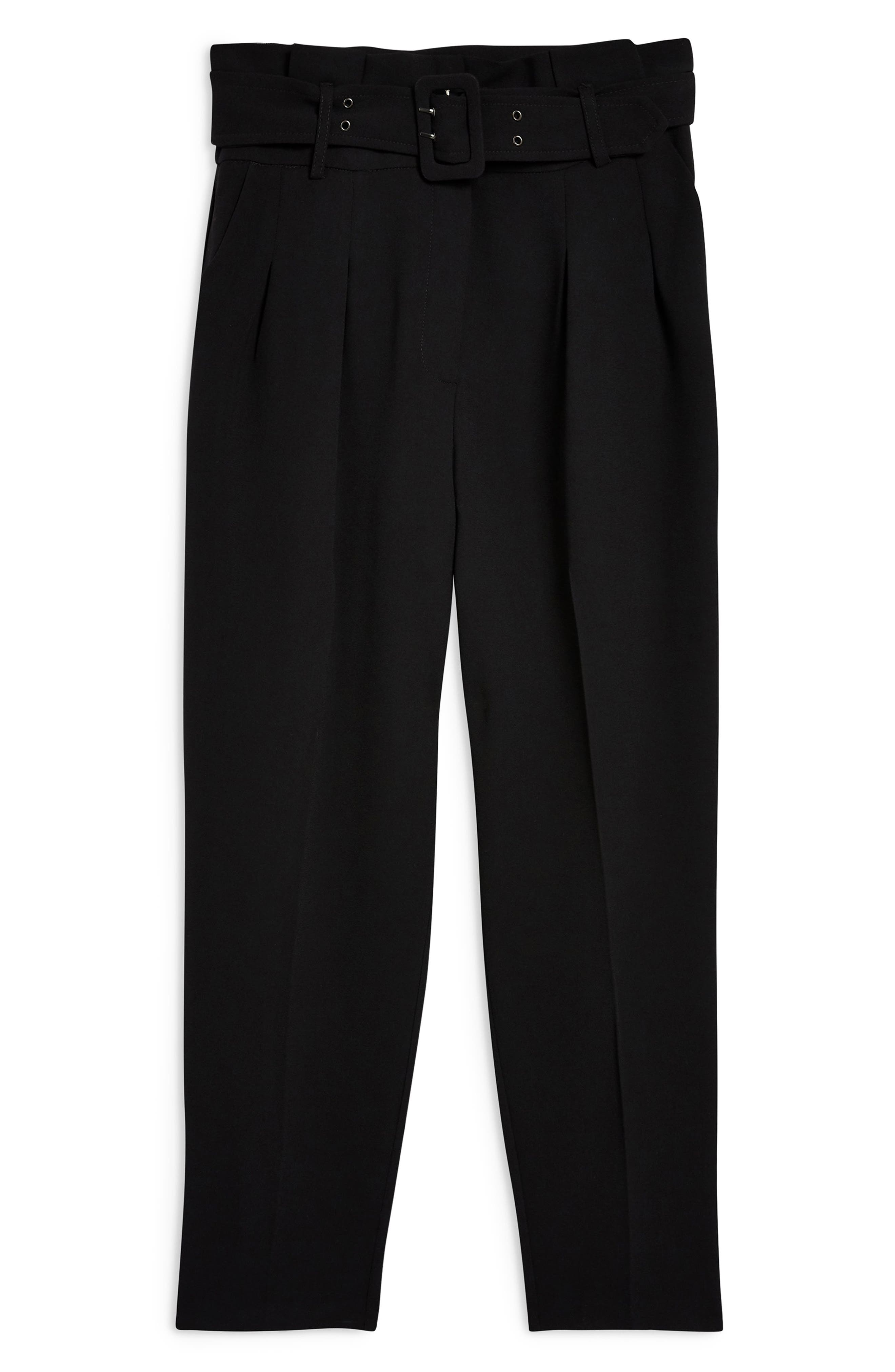 Ayla Belted Eyelet Trouser,                             Alternate thumbnail 4, color,                             BLACK