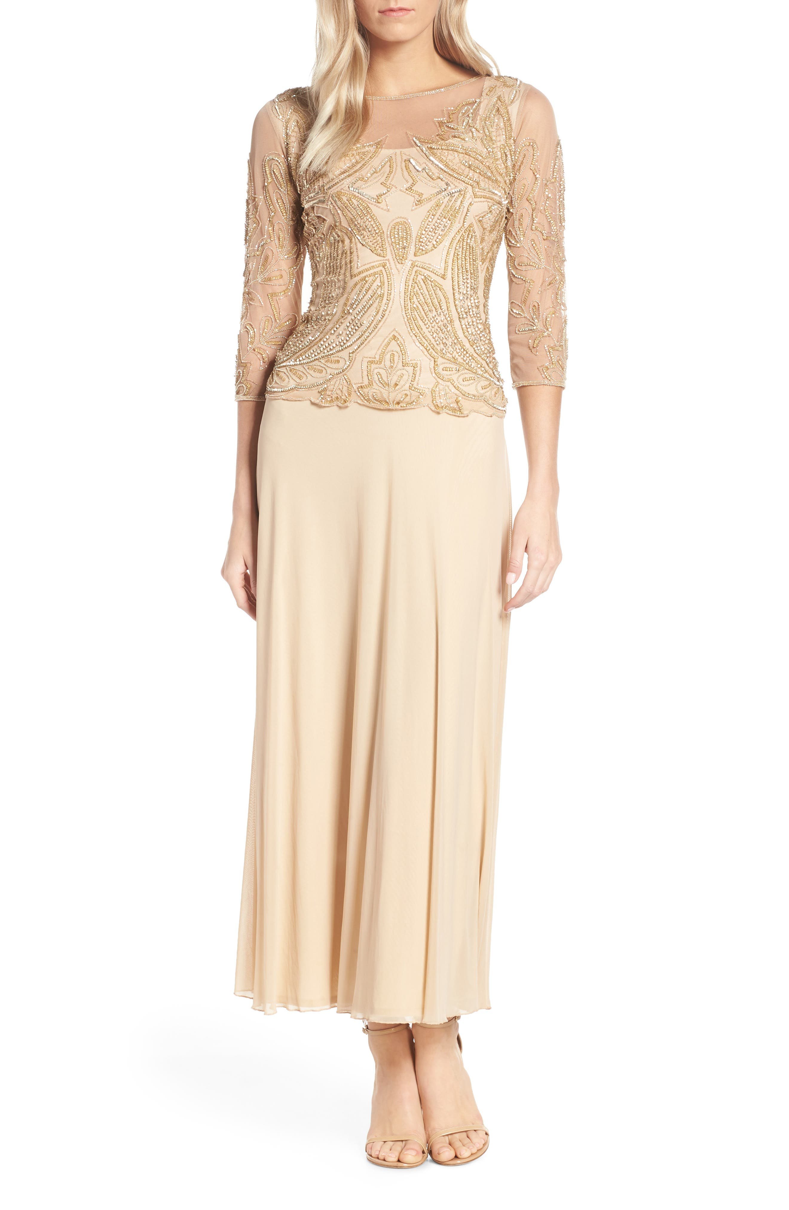 Pisarro Nights Embellished Mesh Gown, Beige