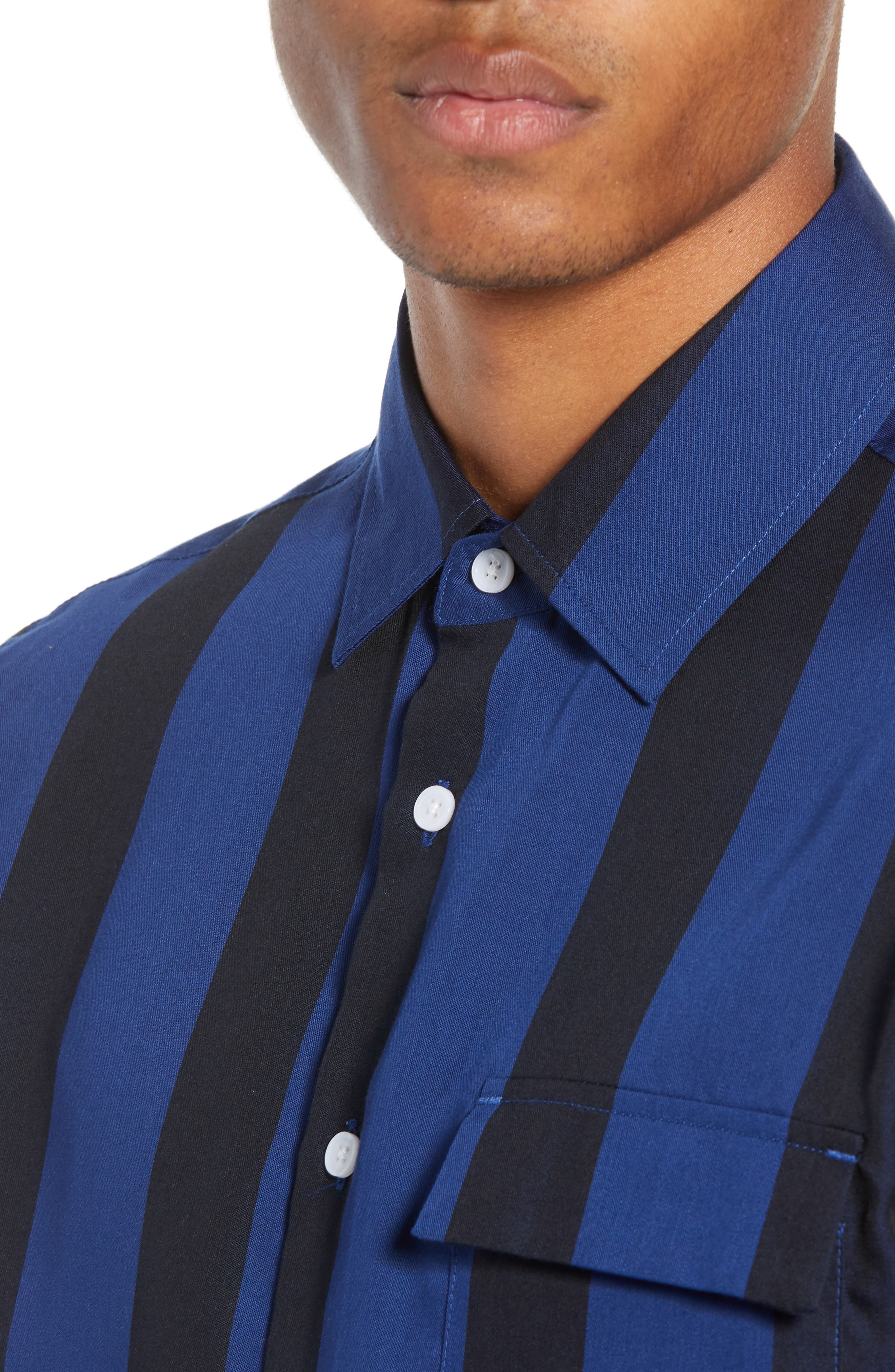SATURDAYS NYC,                             Saturdays Nico Broad Stripe Woven Shirt,                             Alternate thumbnail 2, color,                             001