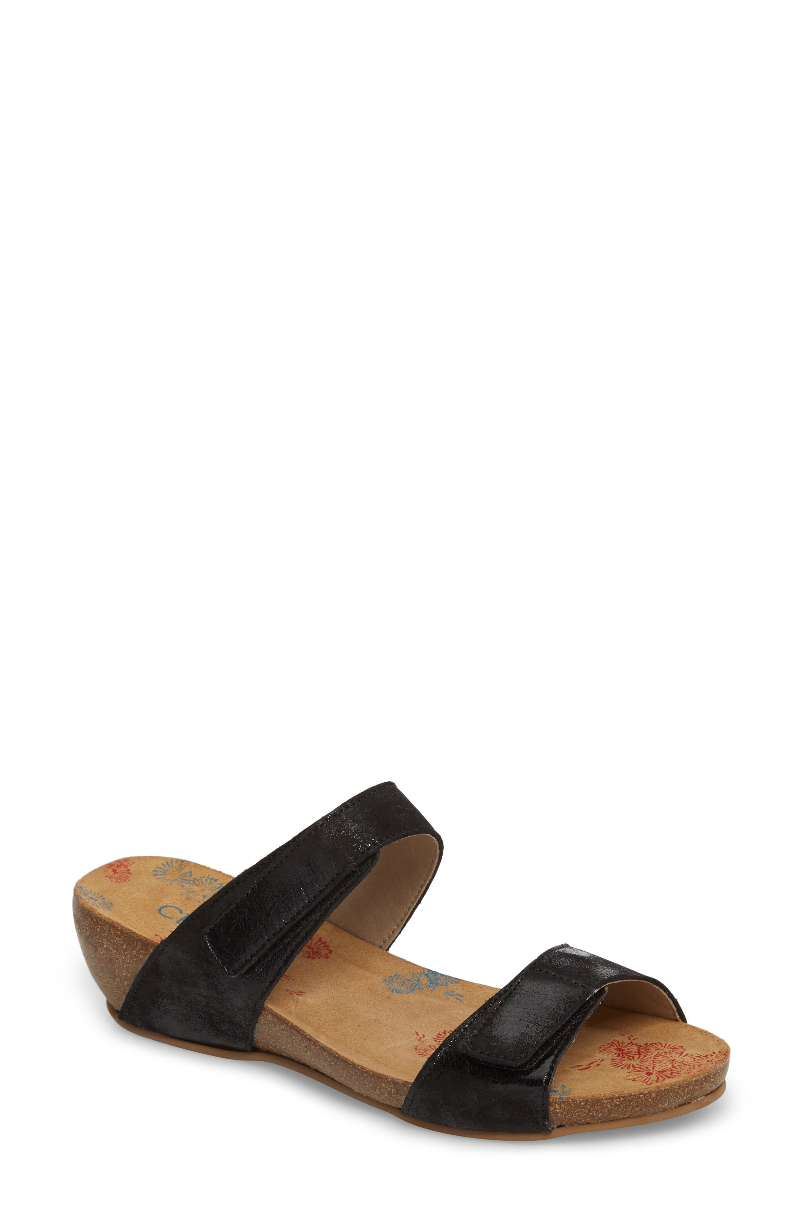 Dawn Wedge Sandal,                         Main,                         color, BLACK STINGER LEATHER