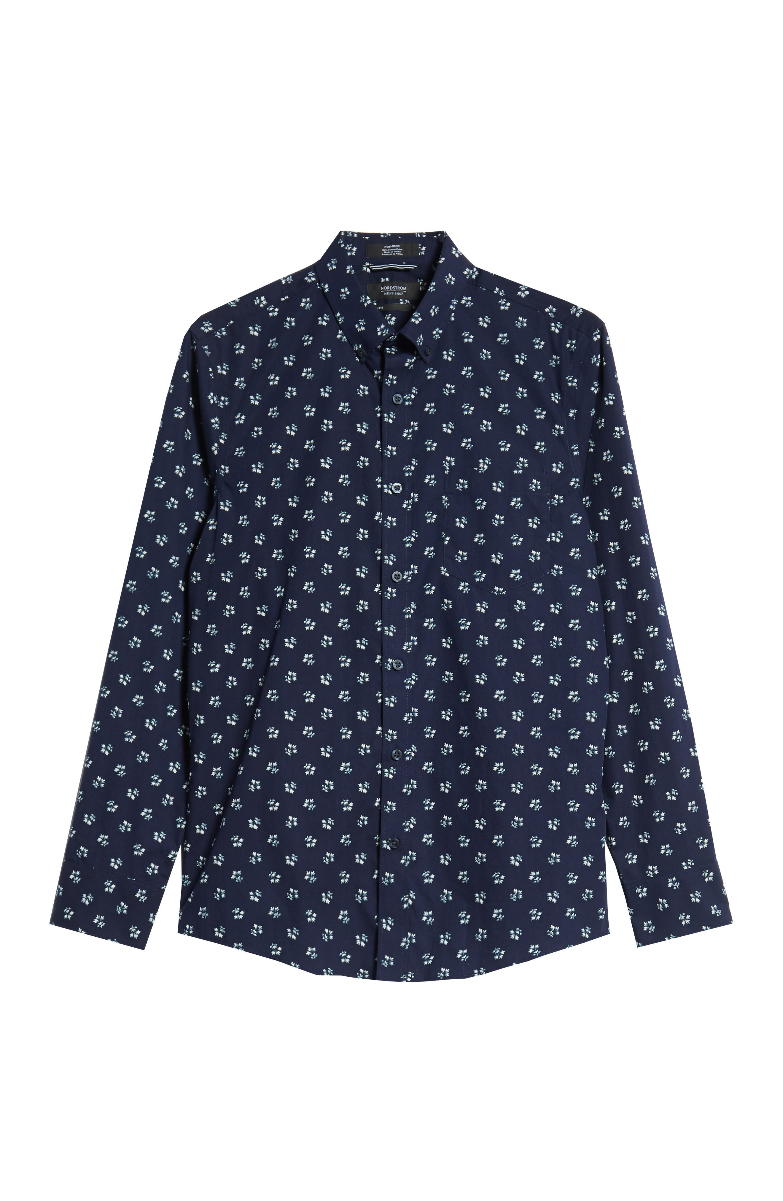 Trim Fit Non-Iron Print Sport Shirt,                             Alternate thumbnail 6, color,                             NAVY NIGHT FLORAL PRINT